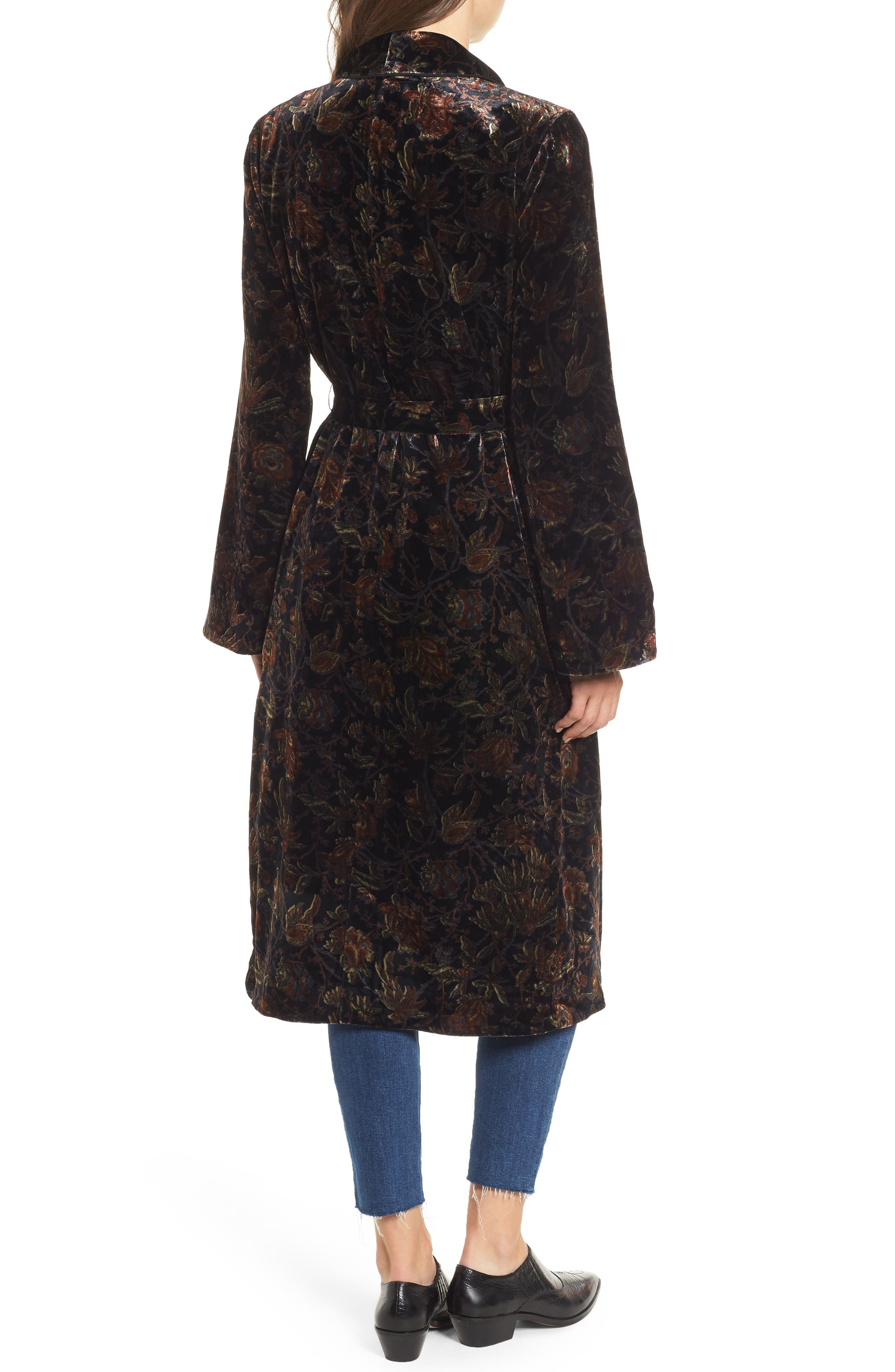 Chrystin Velvet Robe,                             Alternate thumbnail 2, color,                             BLACK / GOLDEN SKY