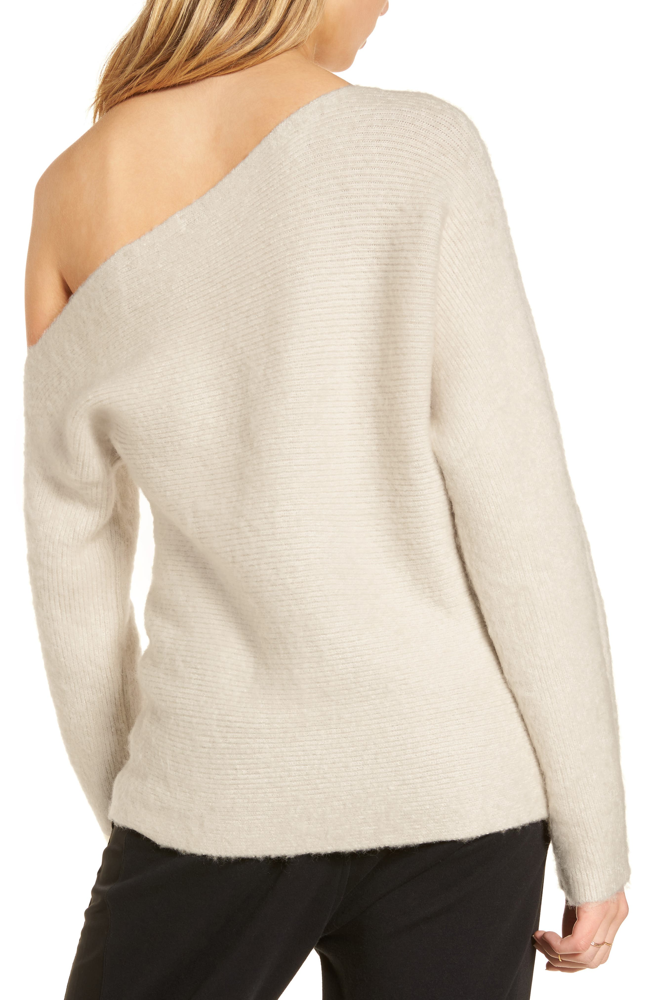 TREASURE & BOND,                             One-Shoulder Ribbed Sweater,                             Alternate thumbnail 2, color,                             BEIGE OATMEAL LIGHT HEATHER