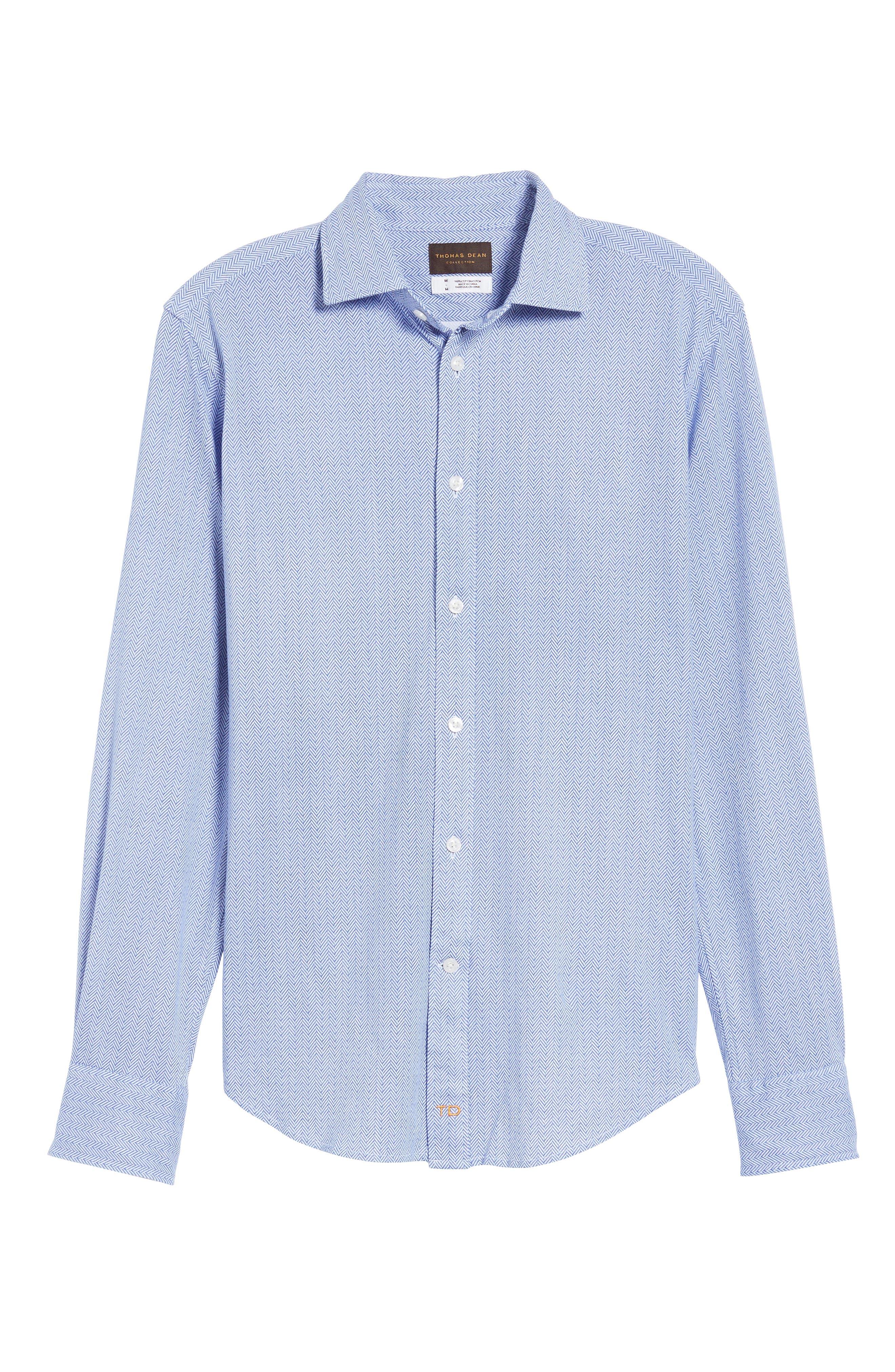 Herringbone Knit Sport Shirt,                             Alternate thumbnail 6, color,                             400