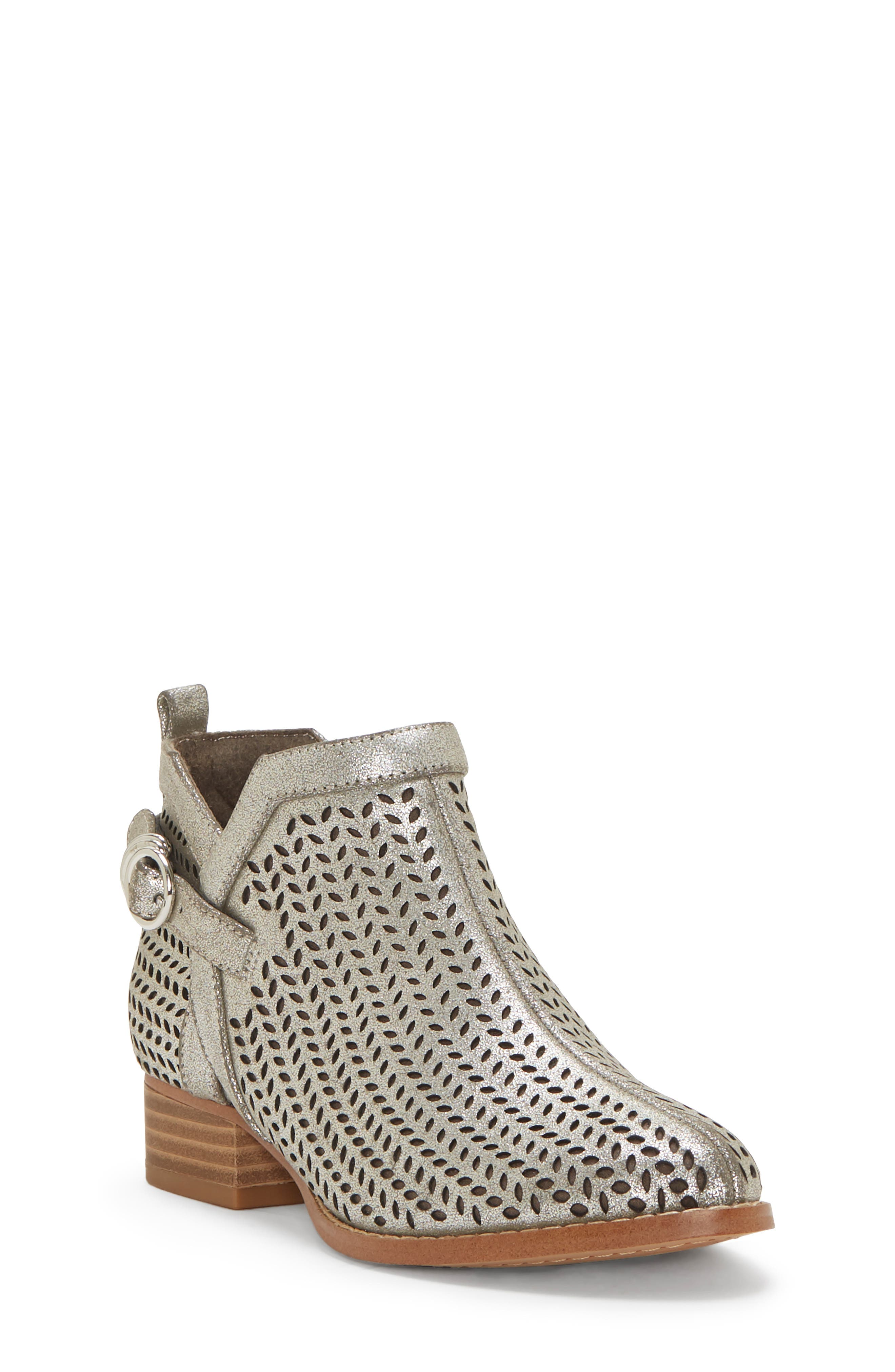 Campina Perforated Bootie,                         Main,                         color, DARK SILVER/ TAUPE