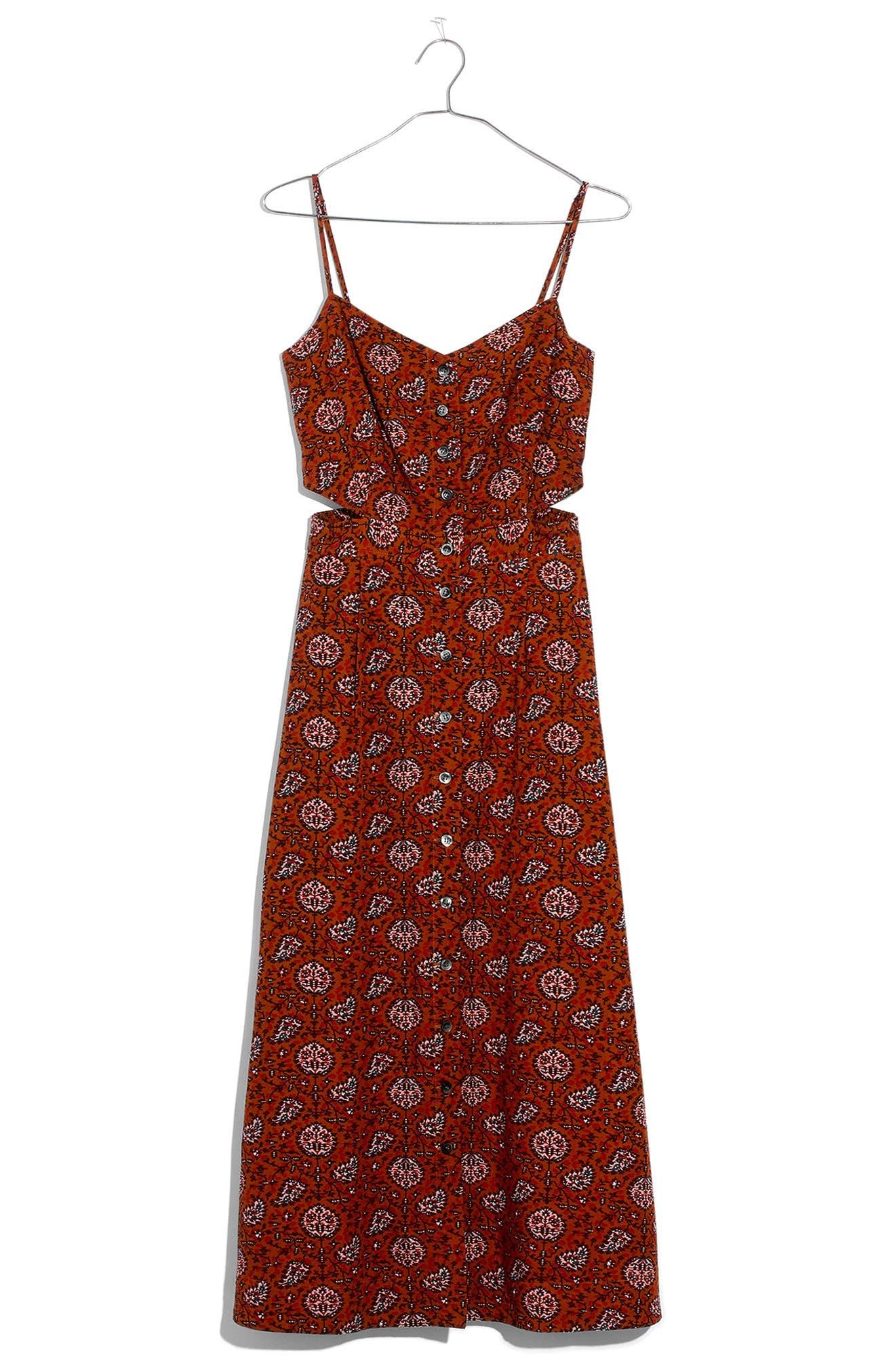MADEWELL,                             Warm Paisley Cutout Camisole Midi Dress,                             Alternate thumbnail 4, color,                             200