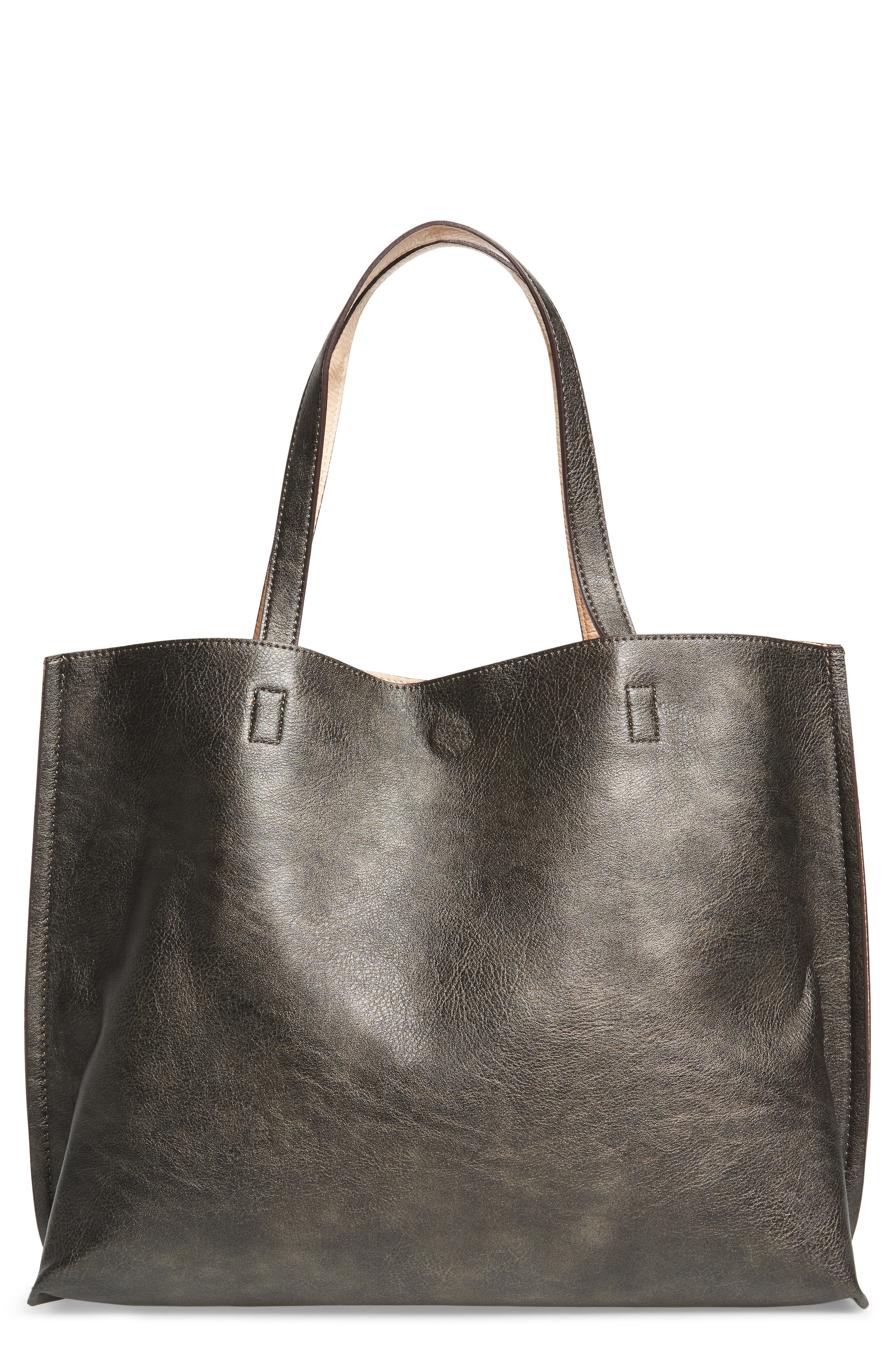 Reversible Faux Leather Tote,                             Main thumbnail 2, color,
