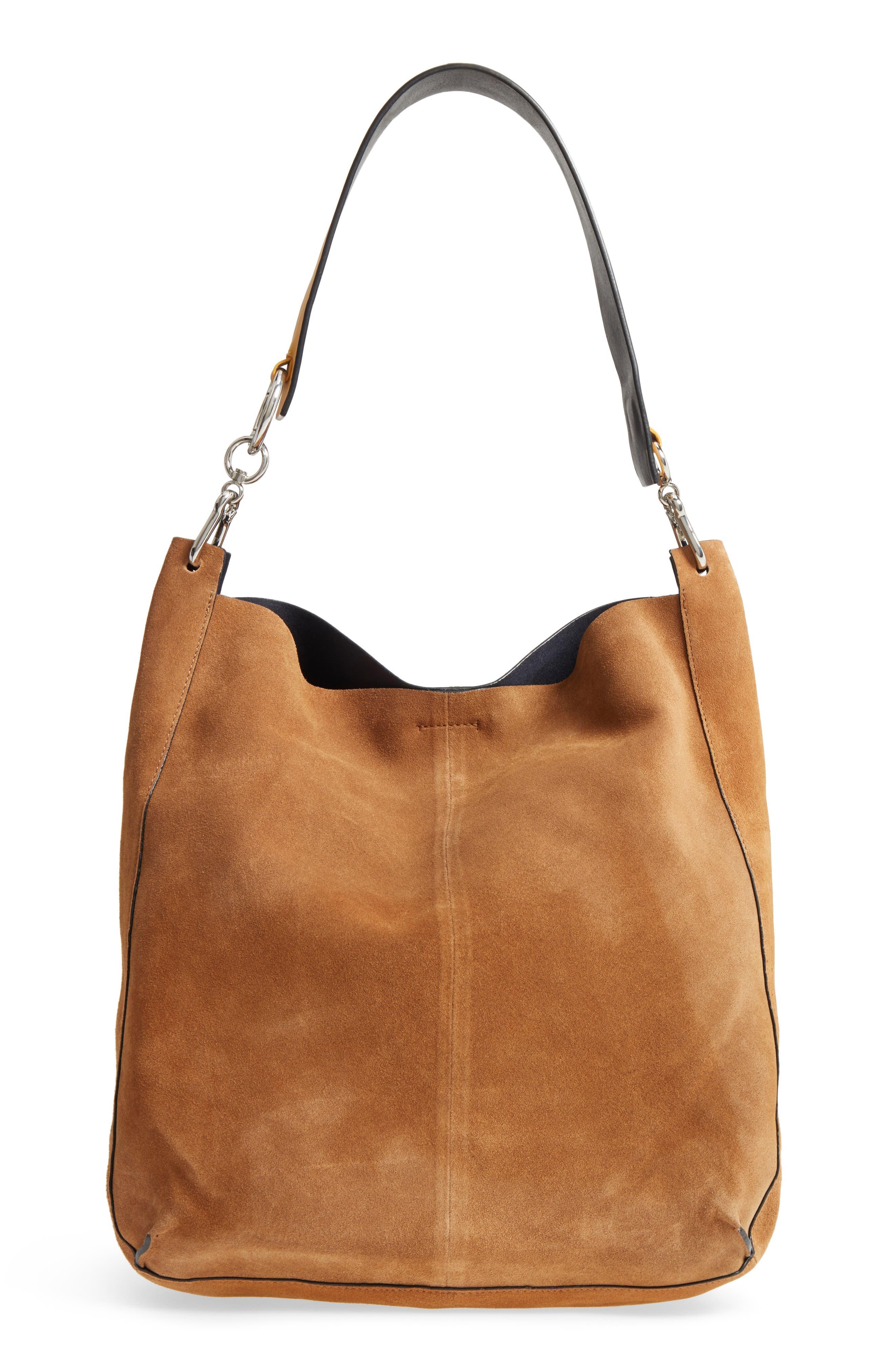 Asymmetric Suede Hobo Bag,                             Main thumbnail 2, color,