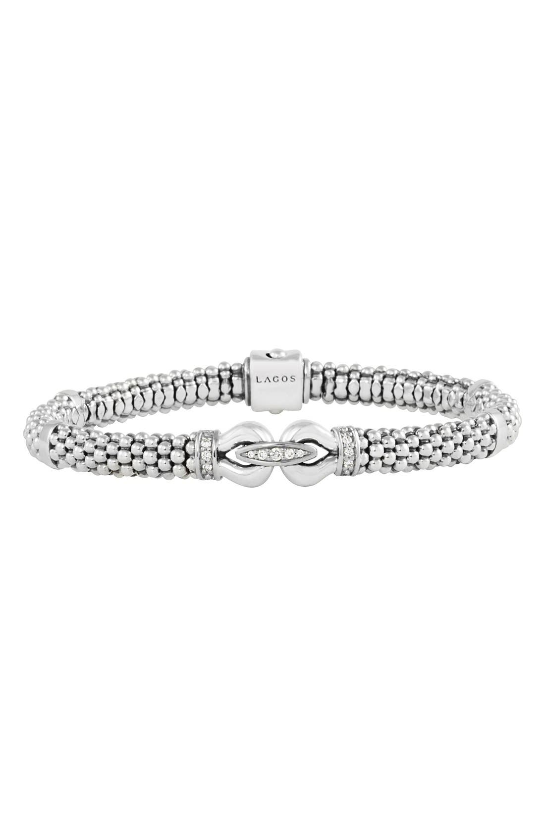 'Derby' Diamond Buckle Rope Bracelet,                             Main thumbnail 1, color,                             STERLING SILVER