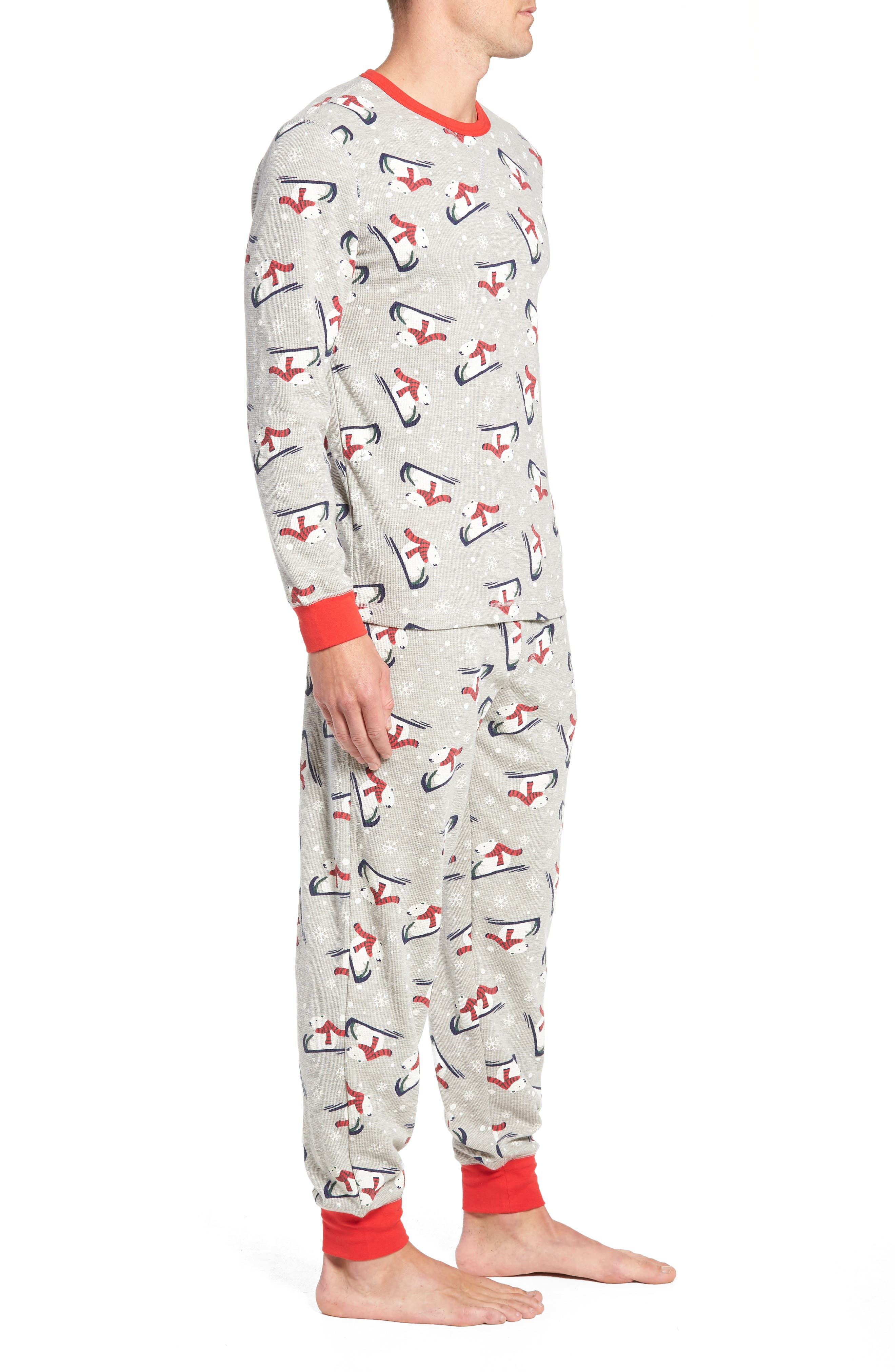 Family Father Thermal Pajamas,                             Alternate thumbnail 3, color,                             GREY PEARL HEATHER POLAR BEAR