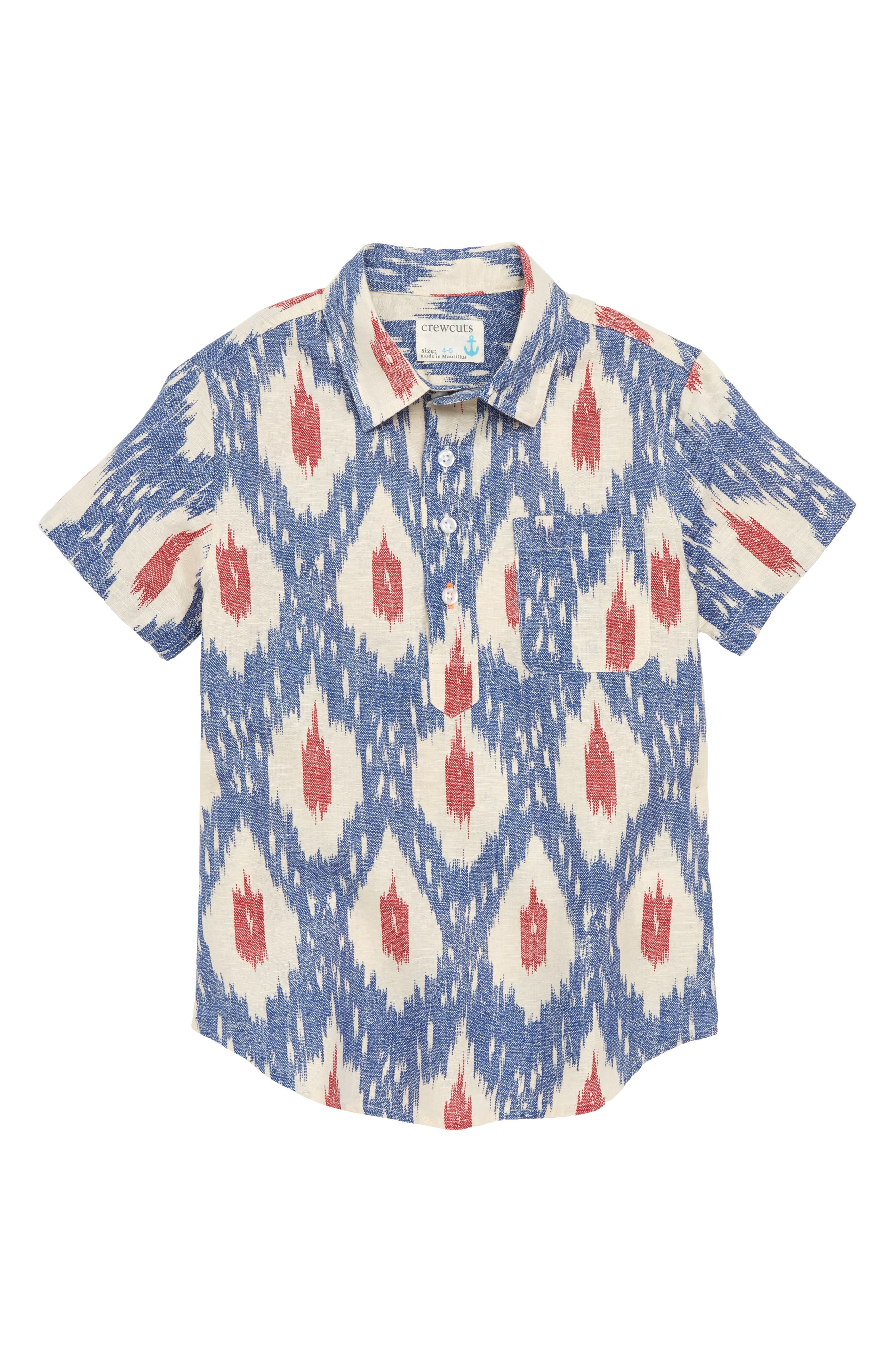 Ikat Print Popover Shirt,                             Main thumbnail 1, color,                             BLUE RED