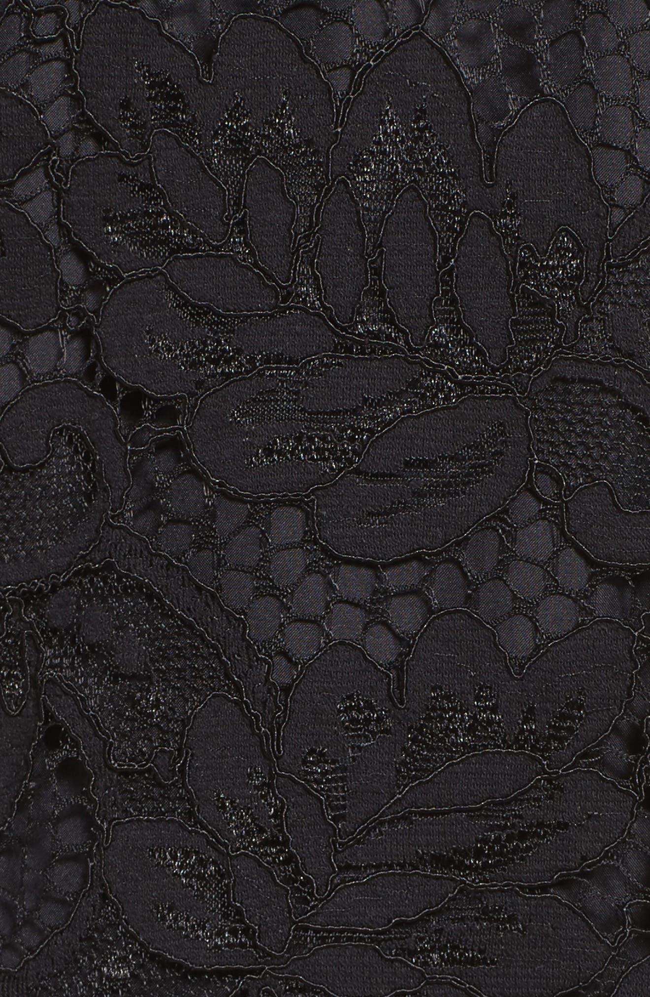'Jacqueline' Lace Shift Dress,                             Alternate thumbnail 7, color,                             BLACK