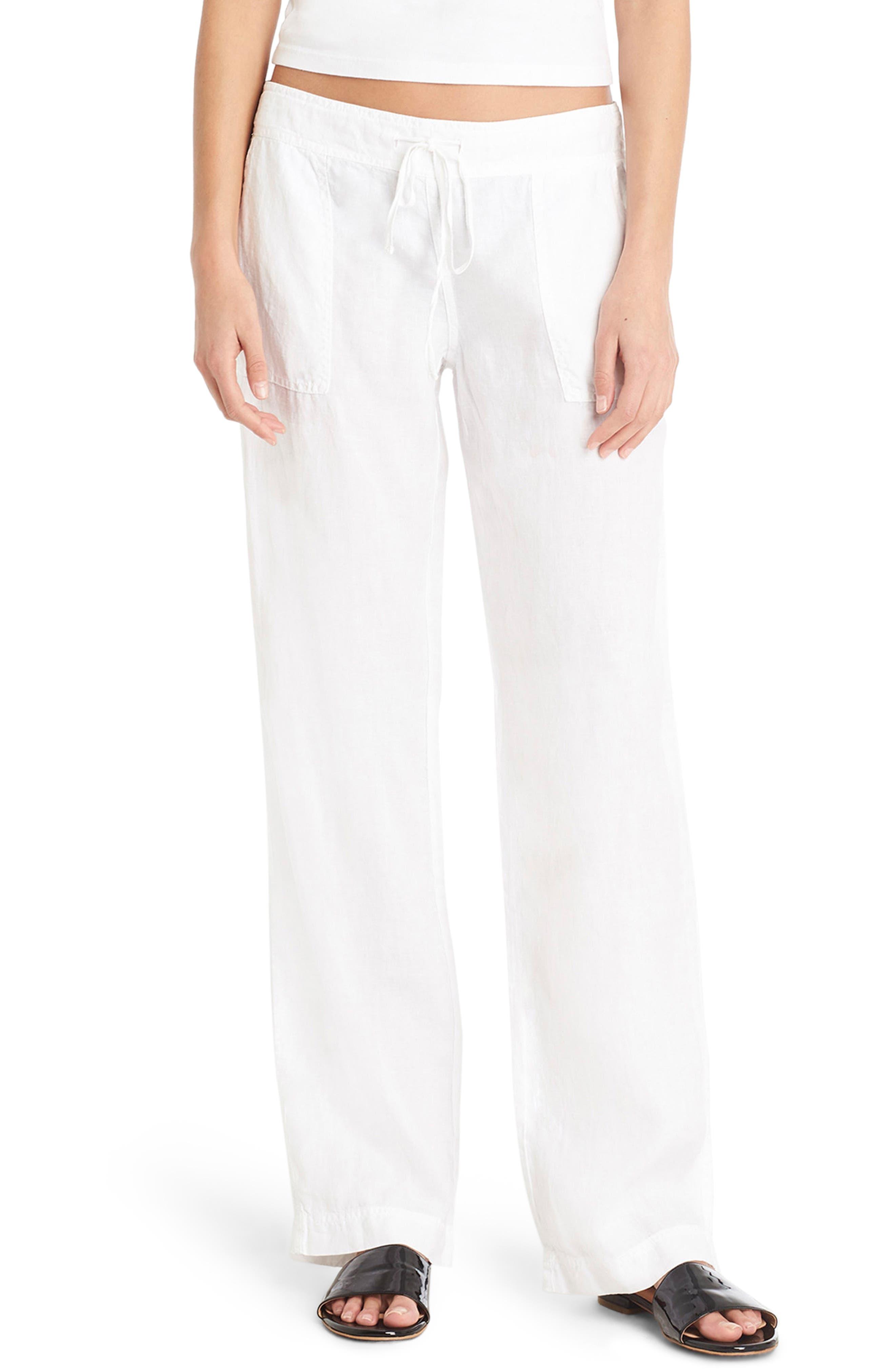 Linen Wide Leg Pants,                             Main thumbnail 1, color,                             100