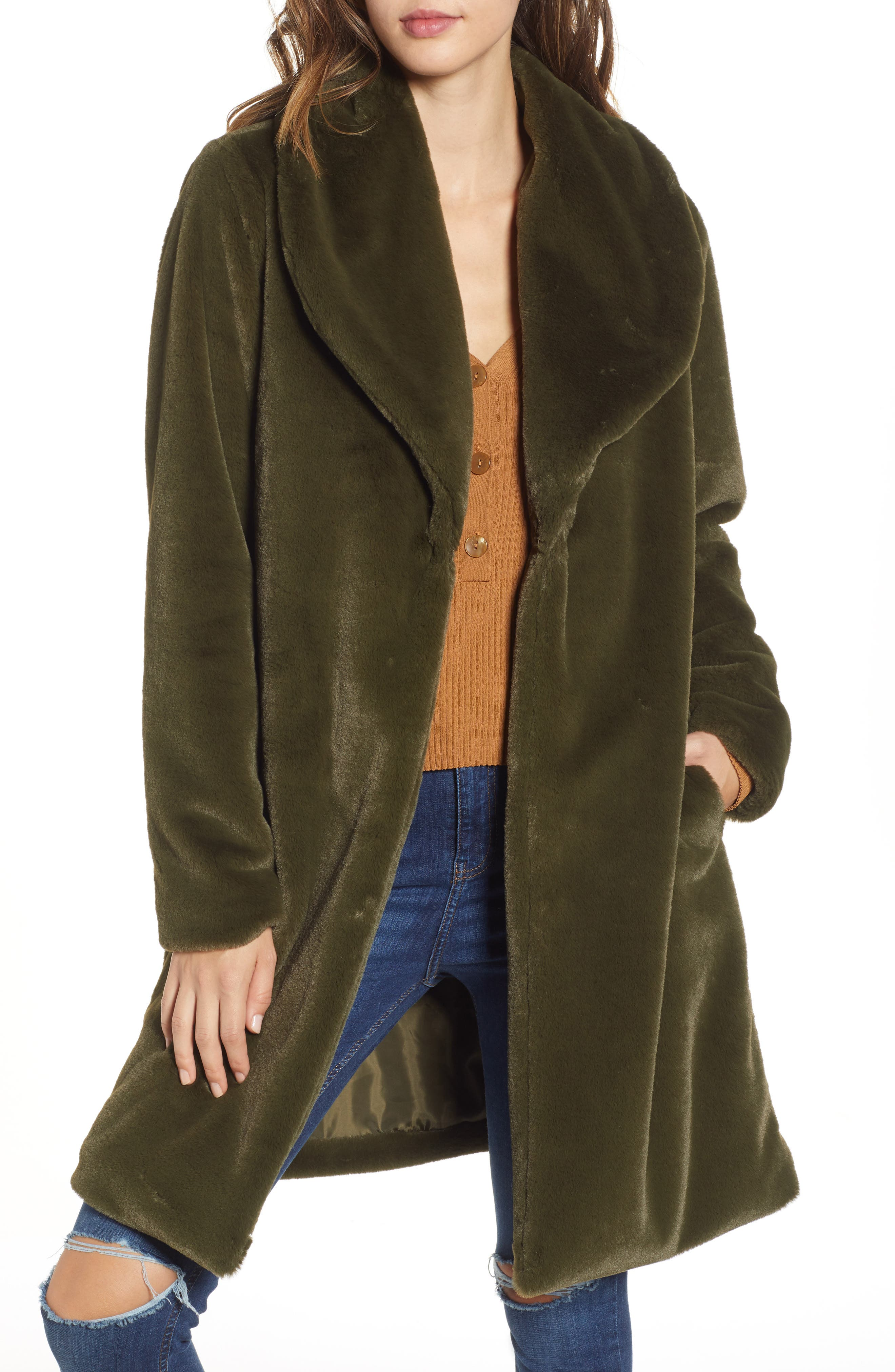 Faux Fur Long Coat by Leith