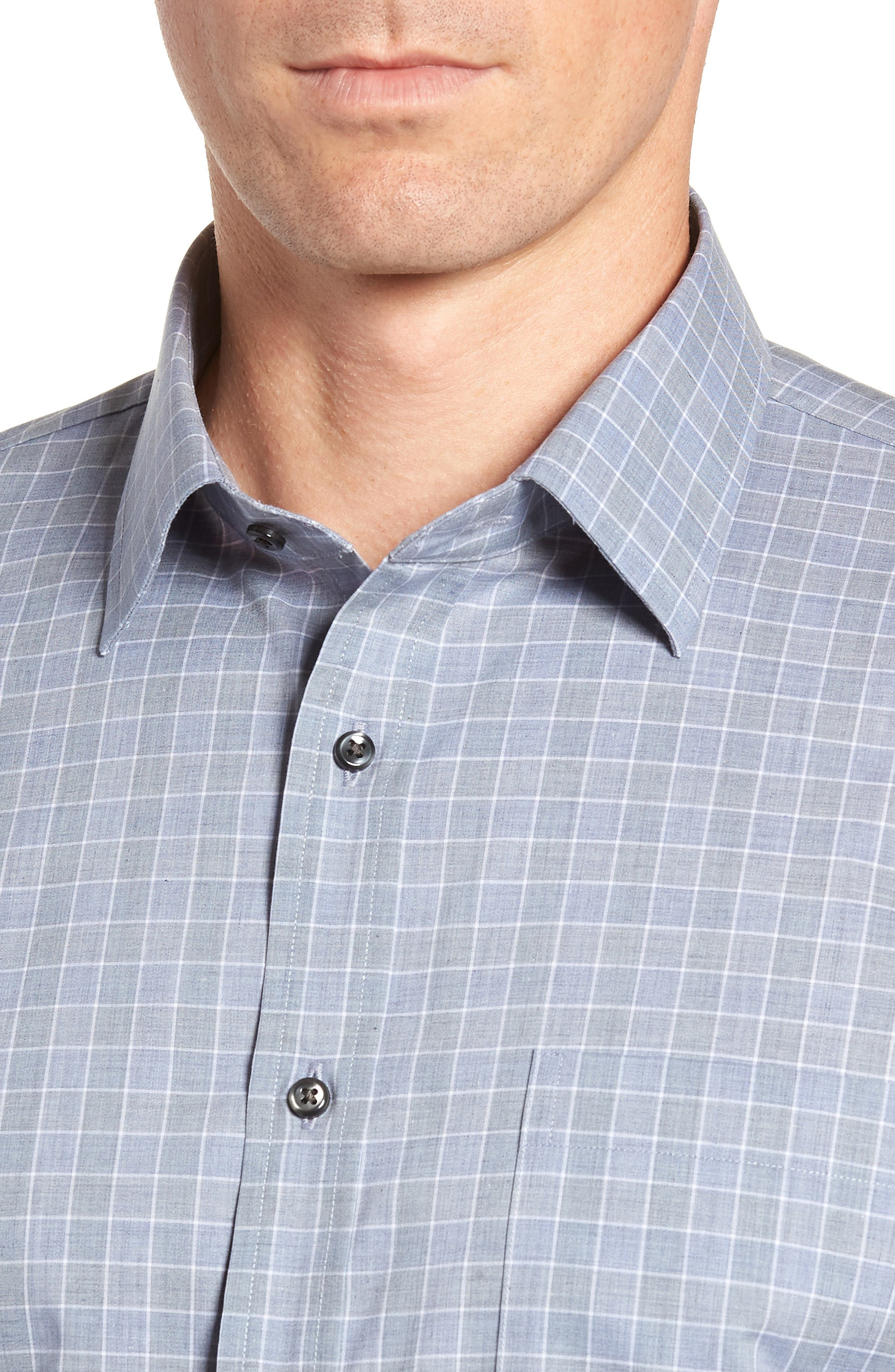 Traditional Fit No-Iron Check Dress Shirt,                             Alternate thumbnail 2, color,                             BLUE INFINITY