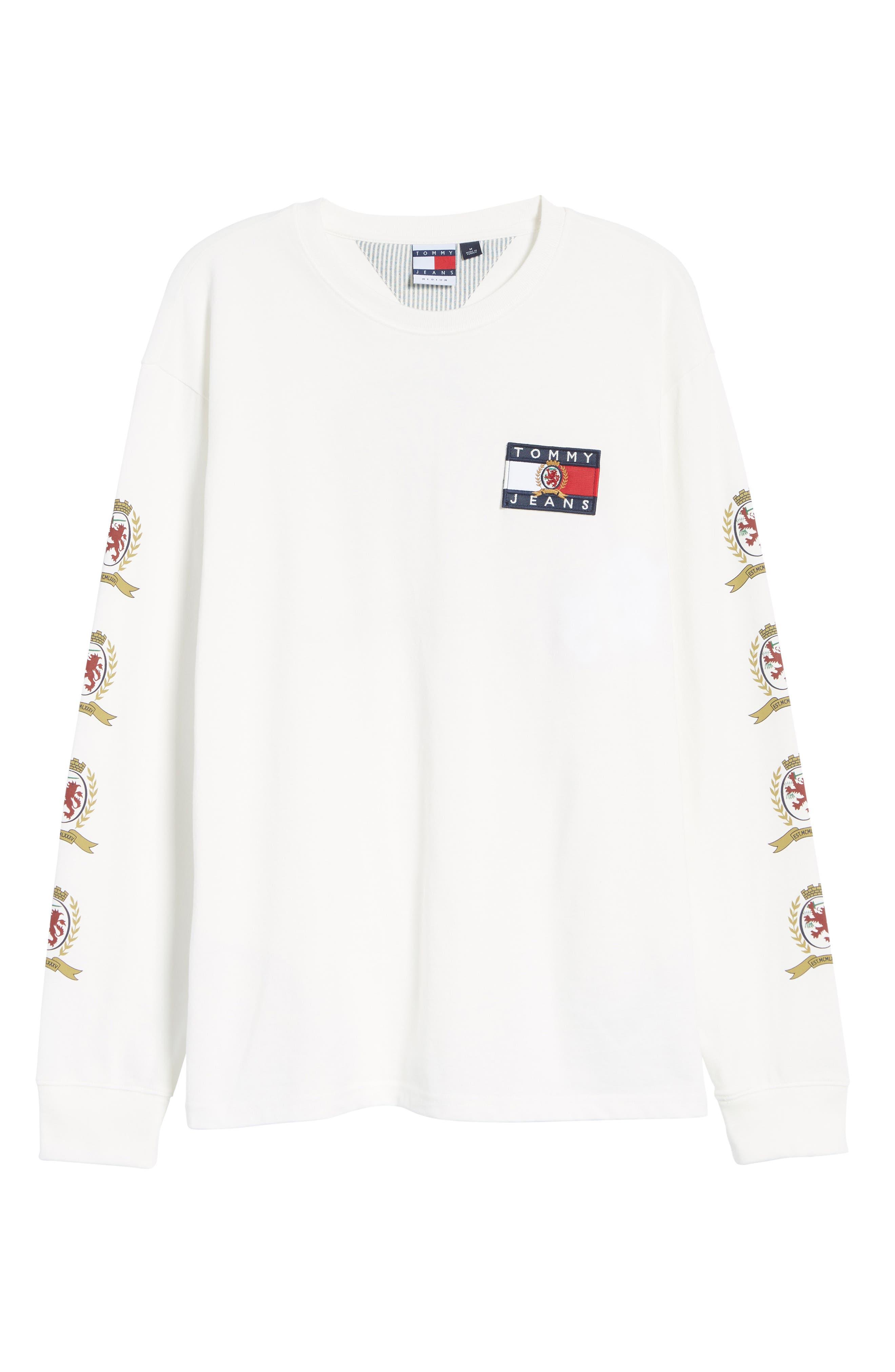 Crest Logo Long Sleeve T-Shirt,                             Alternate thumbnail 6, color,                             CLOUD DANCER
