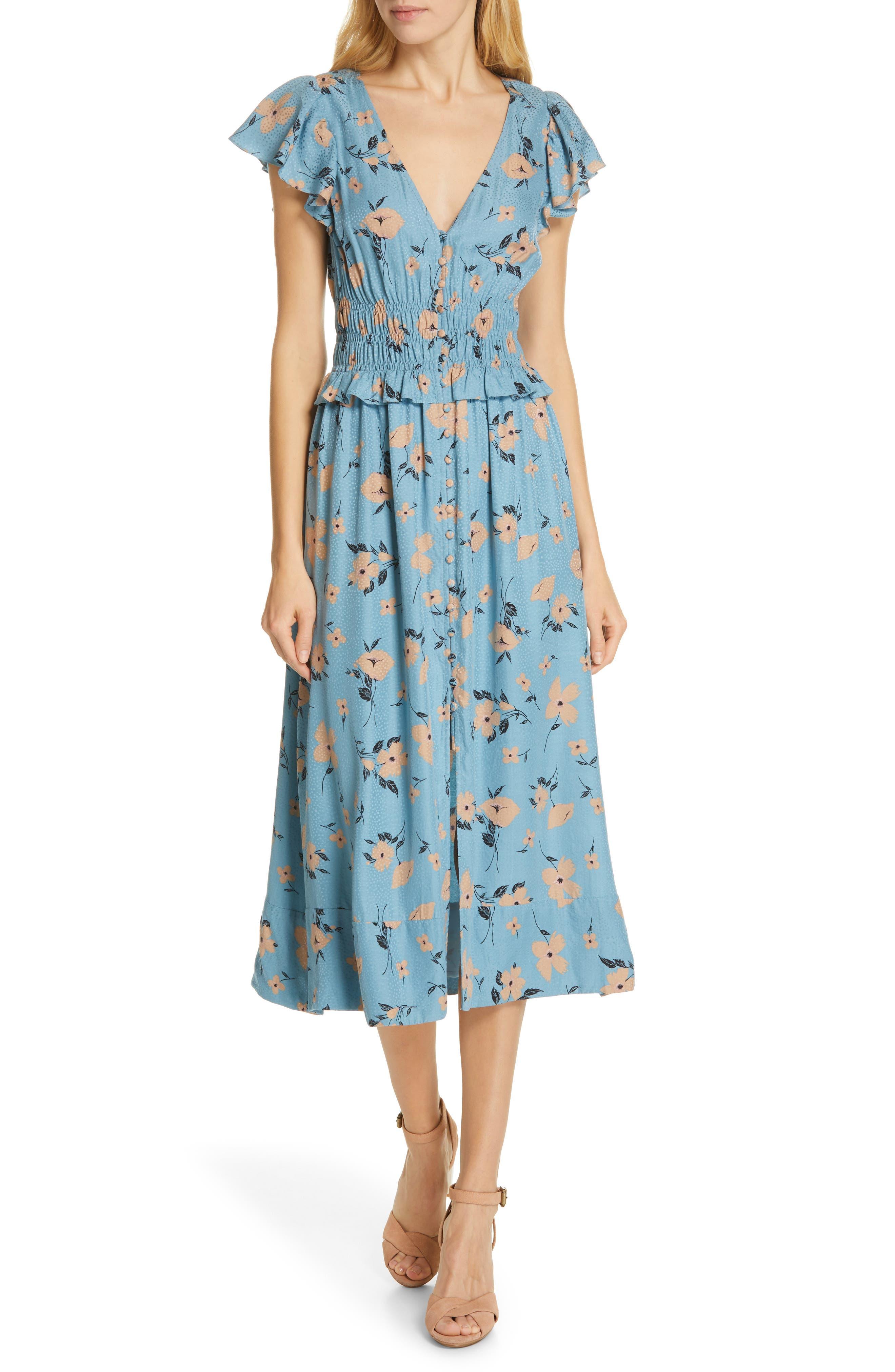 REBECCA TAYLOR,                             Daniella Floral Jacquard Silk Blend Dress,                             Main thumbnail 1, color,                             LAGOON COMBO