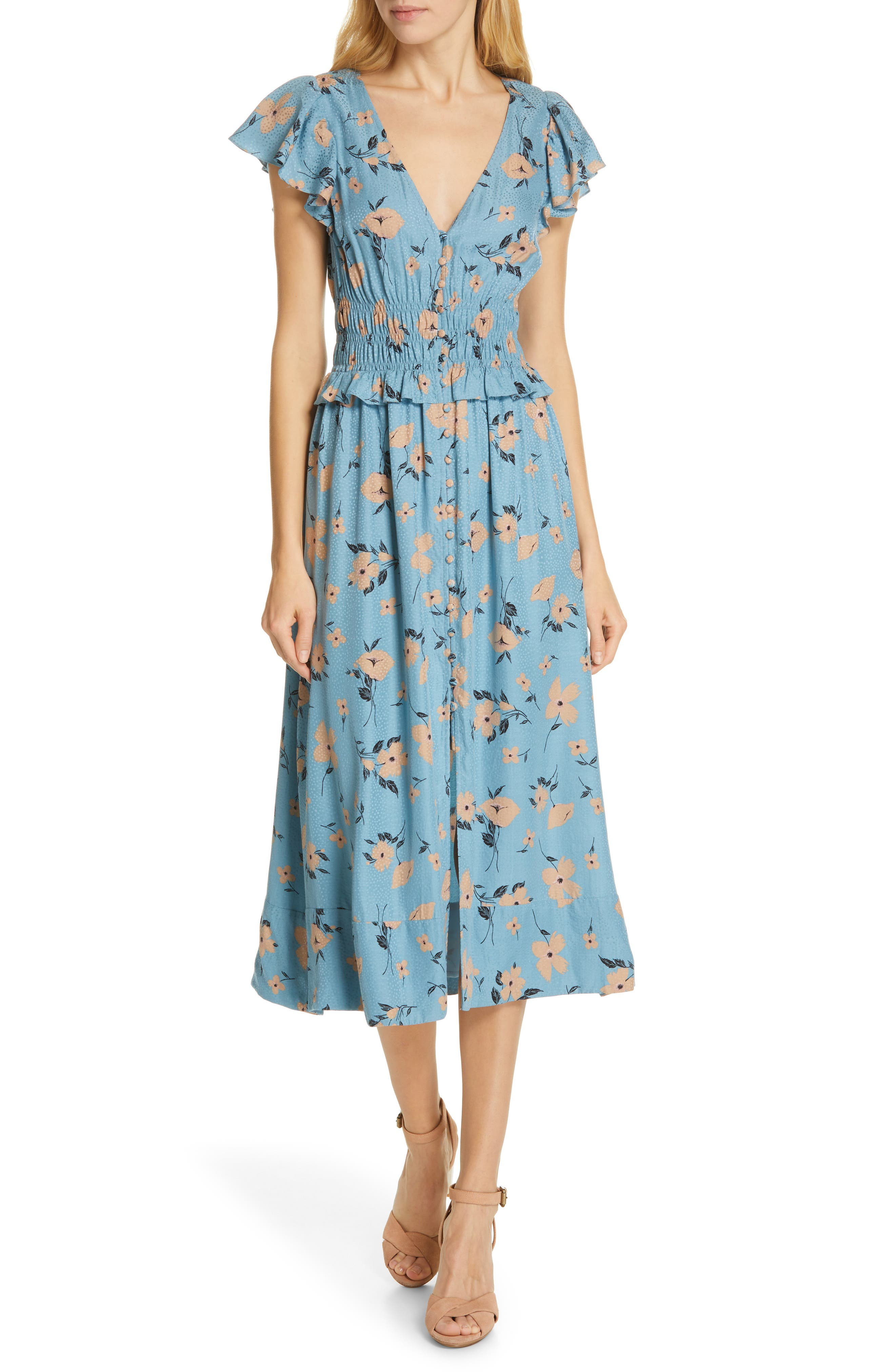 REBECCA TAYLOR Daniella Floral Jacquard Silk Blend Dress, Main, color, LAGOON COMBO