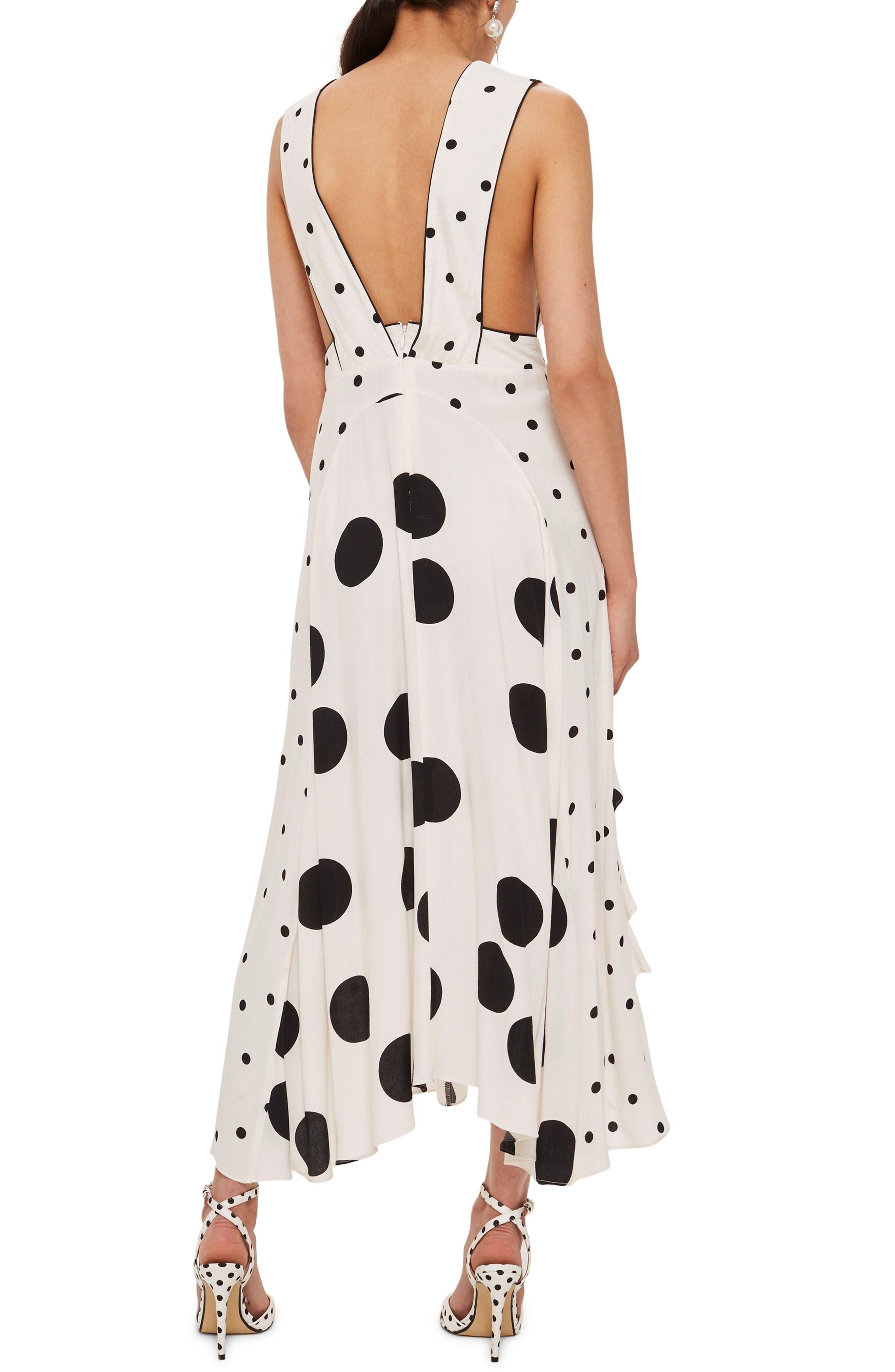Mix Spotted Pinafore Midi Dress,                             Alternate thumbnail 2, color,