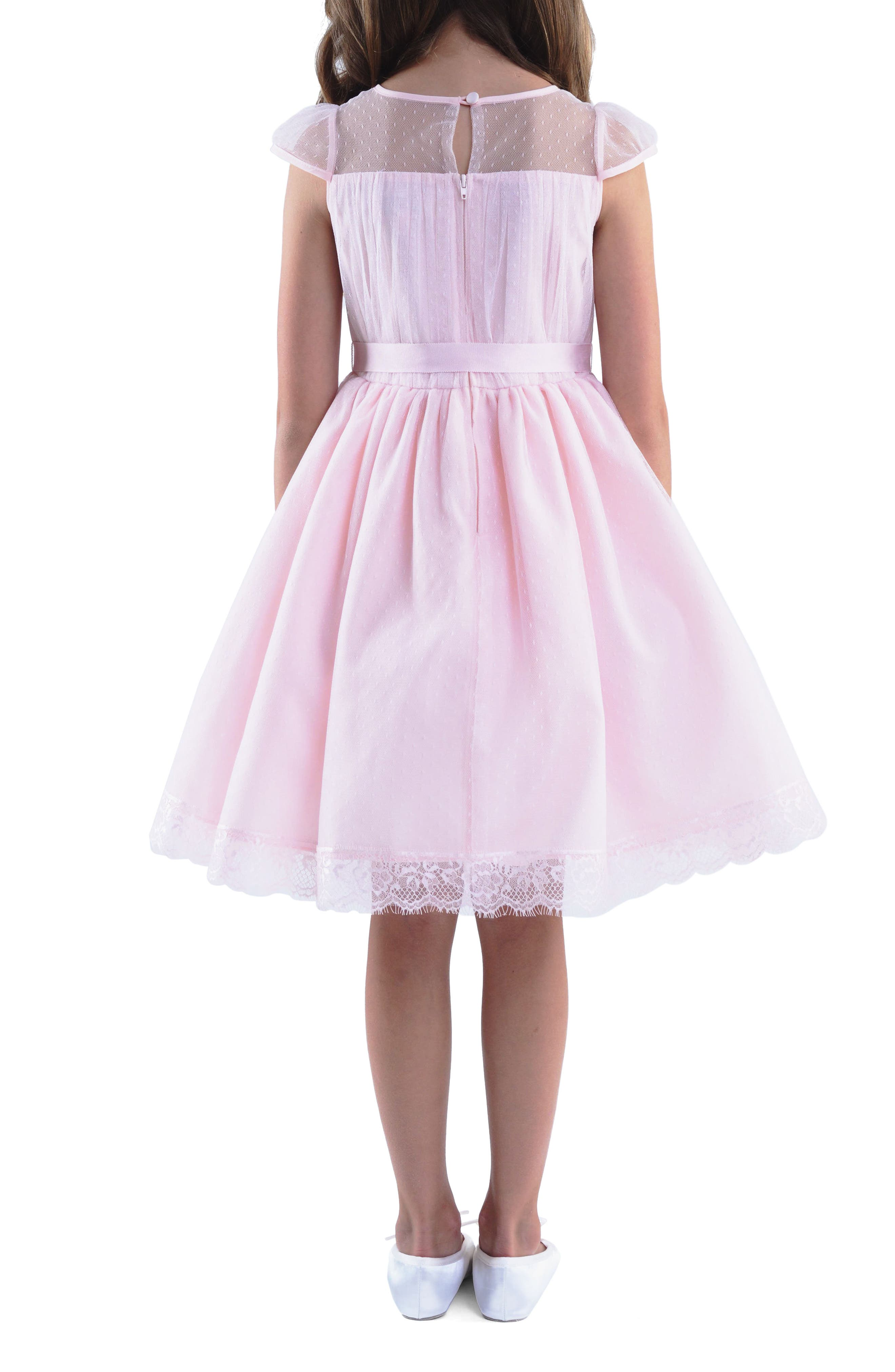 Point d'Esprit Dress,                             Alternate thumbnail 2, color,                             BLUSH PINK