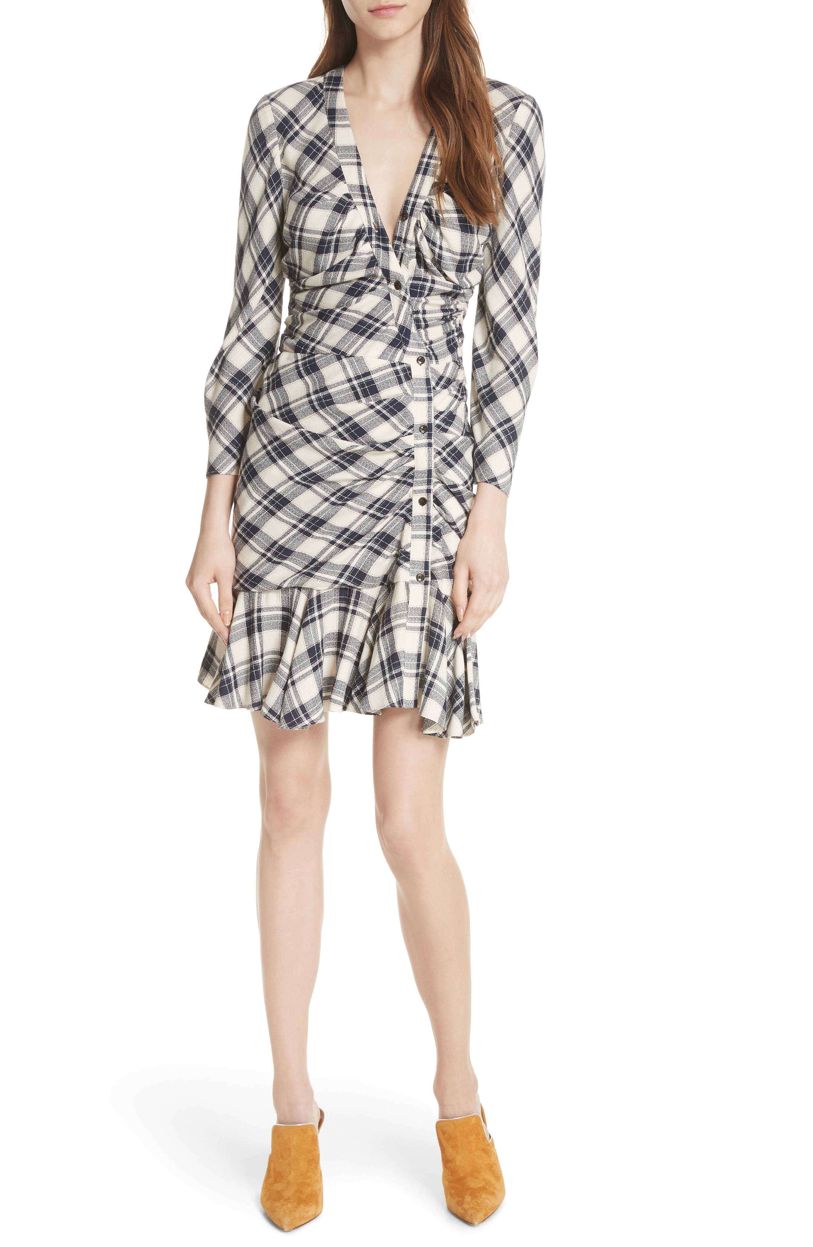 Rowe Asymmetrical Button Dress,                             Main thumbnail 1, color,                             417