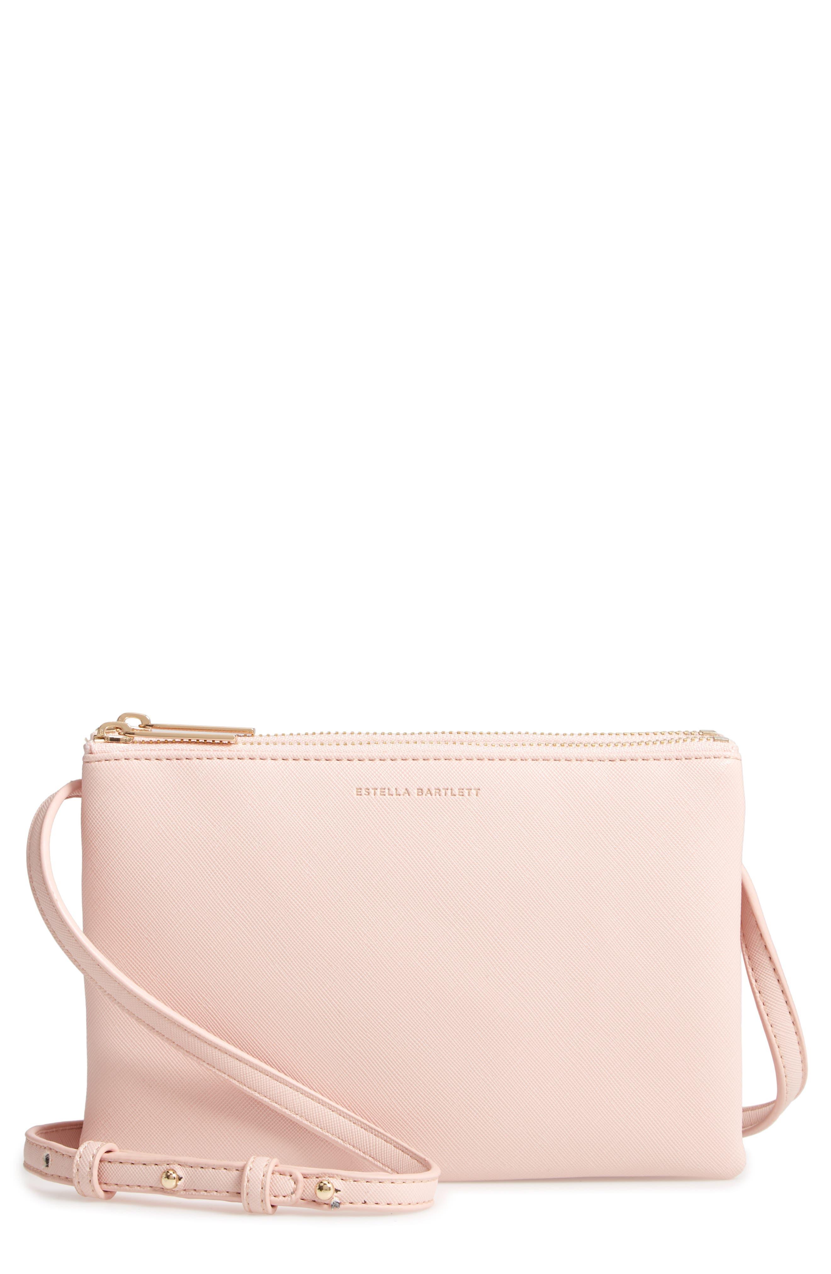 ESTELLA BARTLETT,                             Double Faux Leather Crossbody Bag,                             Main thumbnail 1, color,                             BLUSH