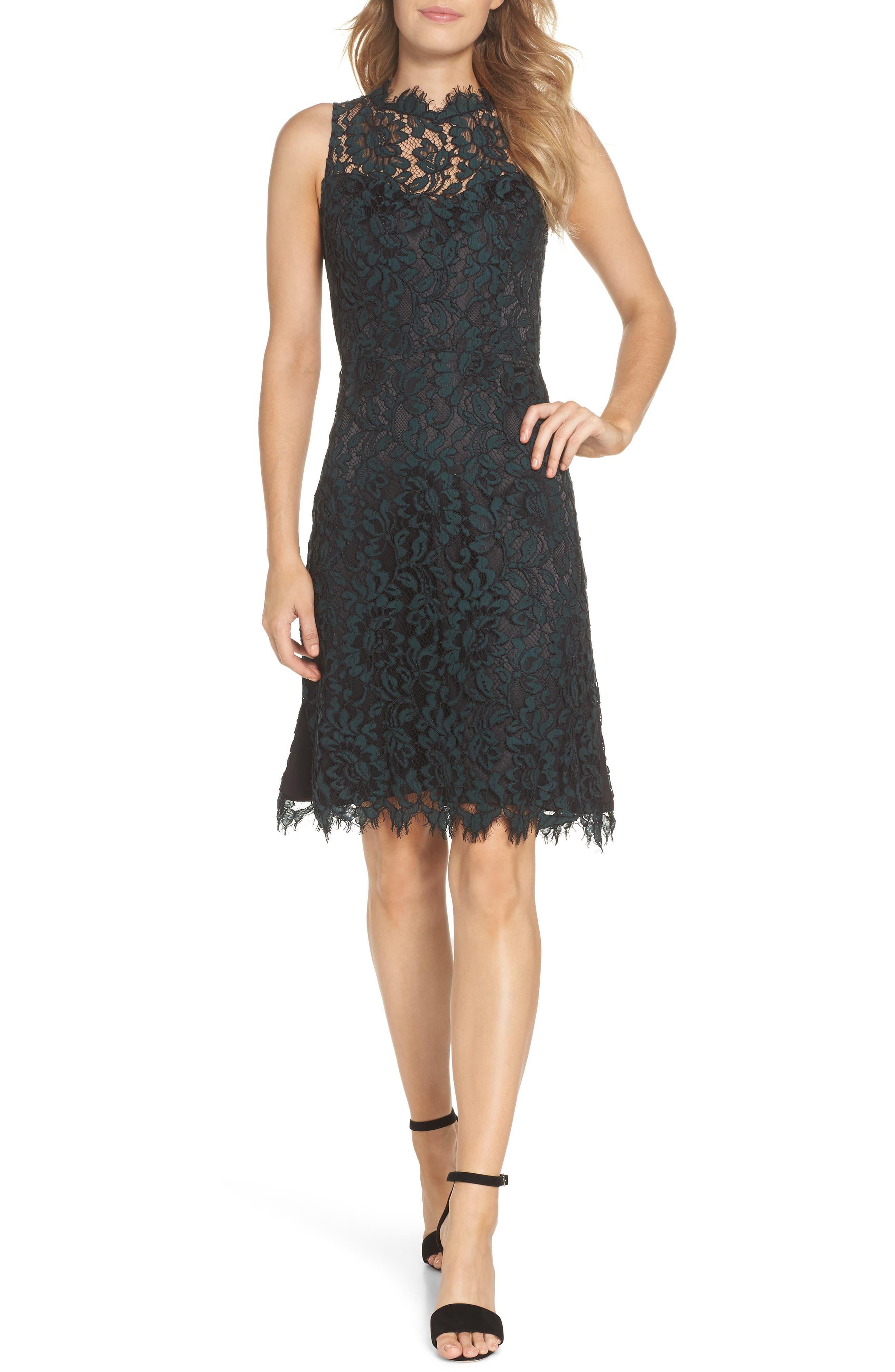 Eliza J High Neck Lace Sheath Dress, Green