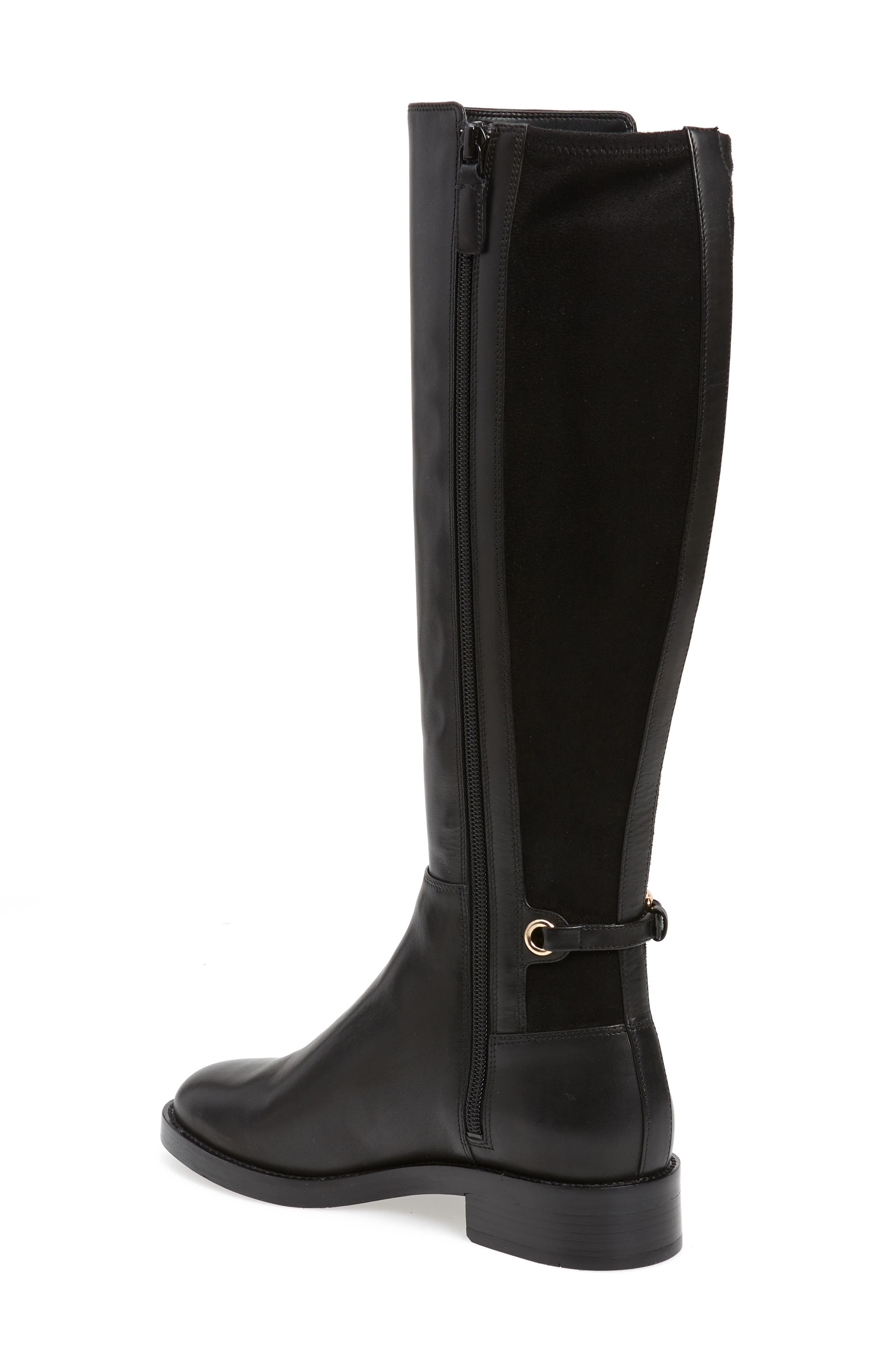 Parker Grand Stretch Knee High Boot,                             Alternate thumbnail 2, color,                             BLACK LEATHER