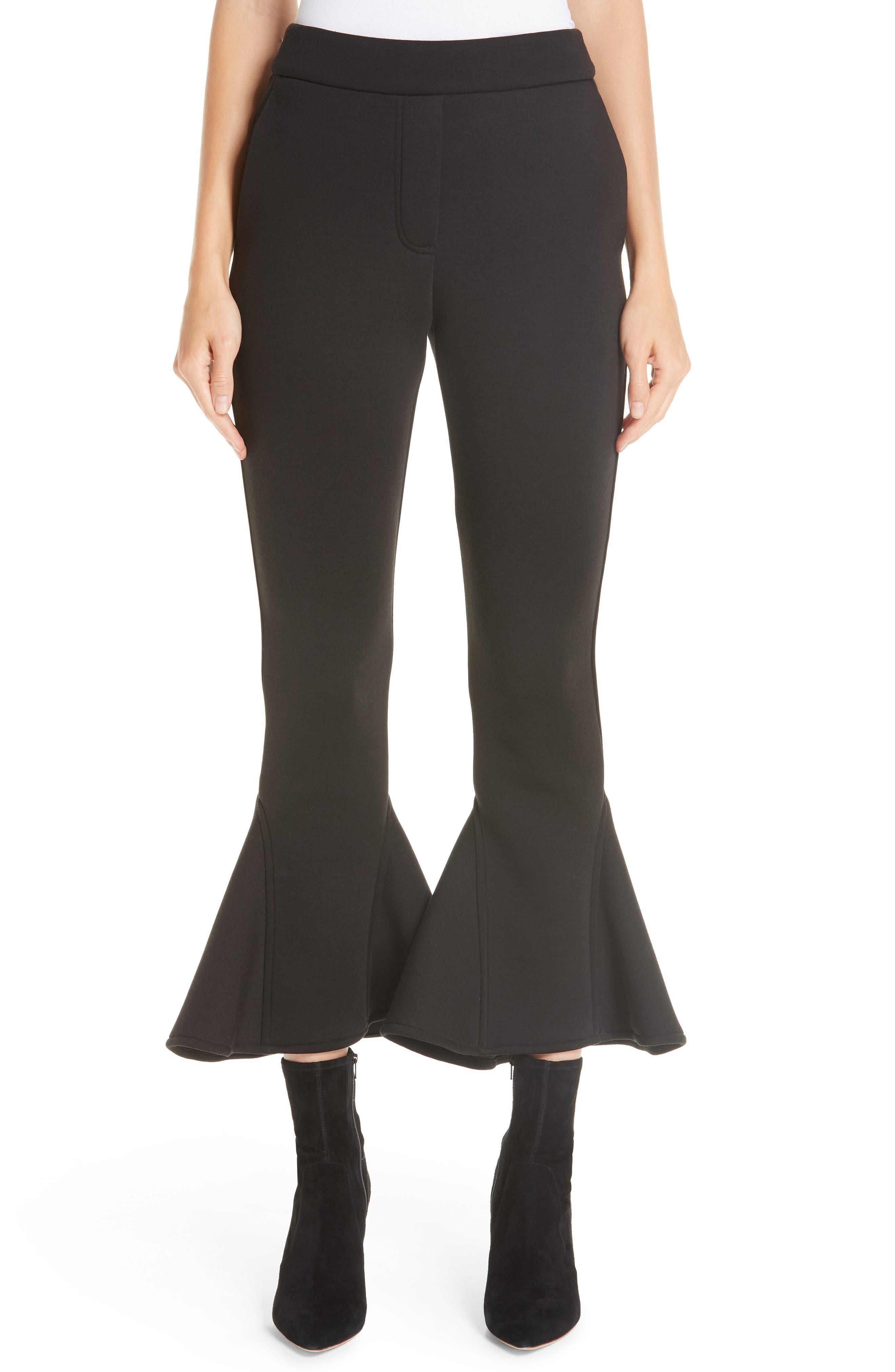 Ruffle Bell Bottom Neoprene Pants,                         Main,                         color, BLACK