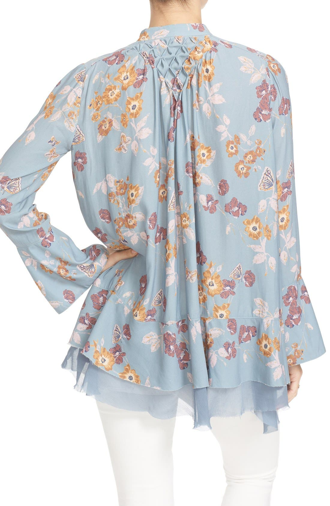 Floral Print Smocked Tunic,                             Alternate thumbnail 4, color,                             400