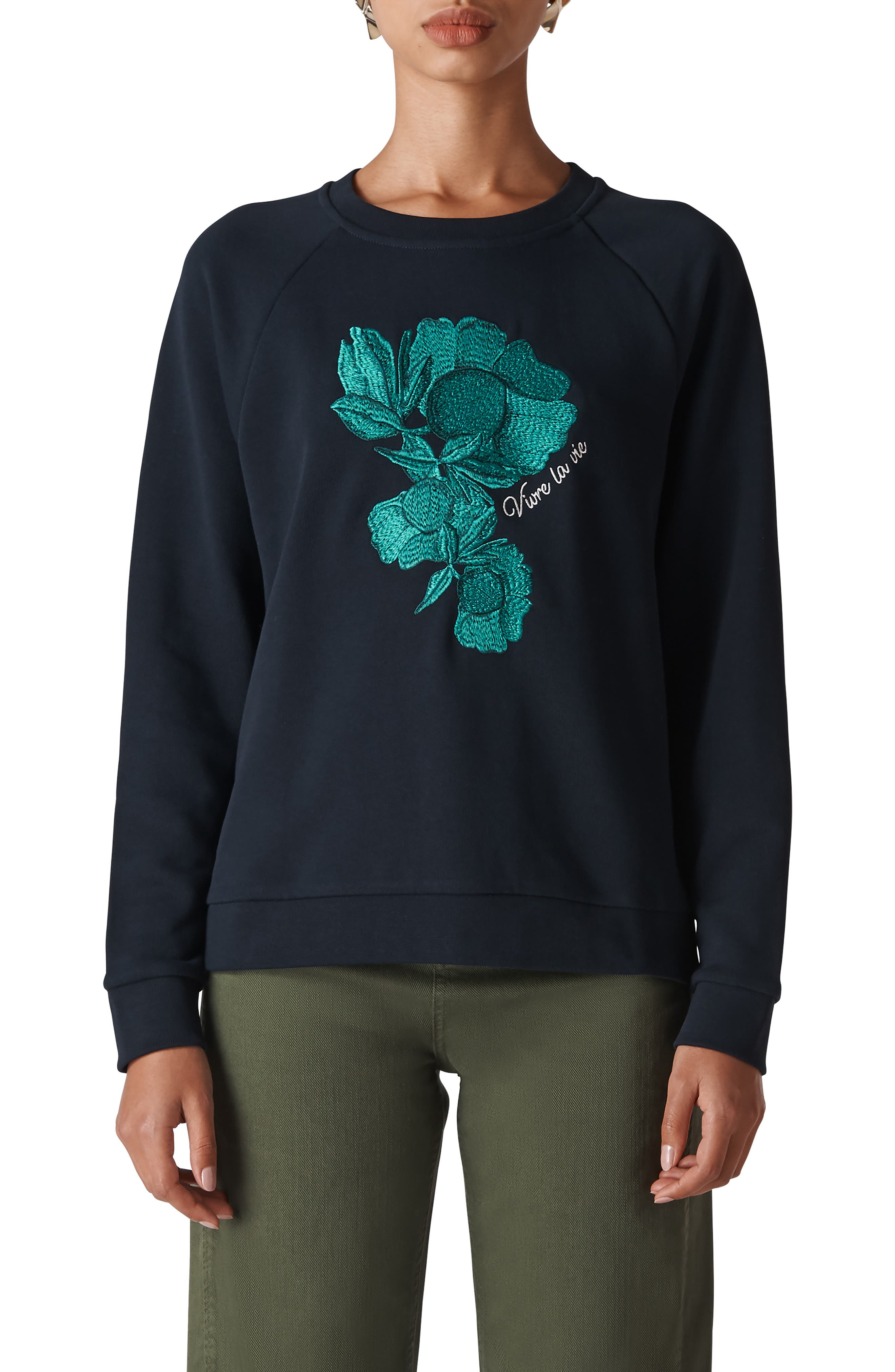 Floral Embroidered Sweatshirt,                             Main thumbnail 1, color,                             410