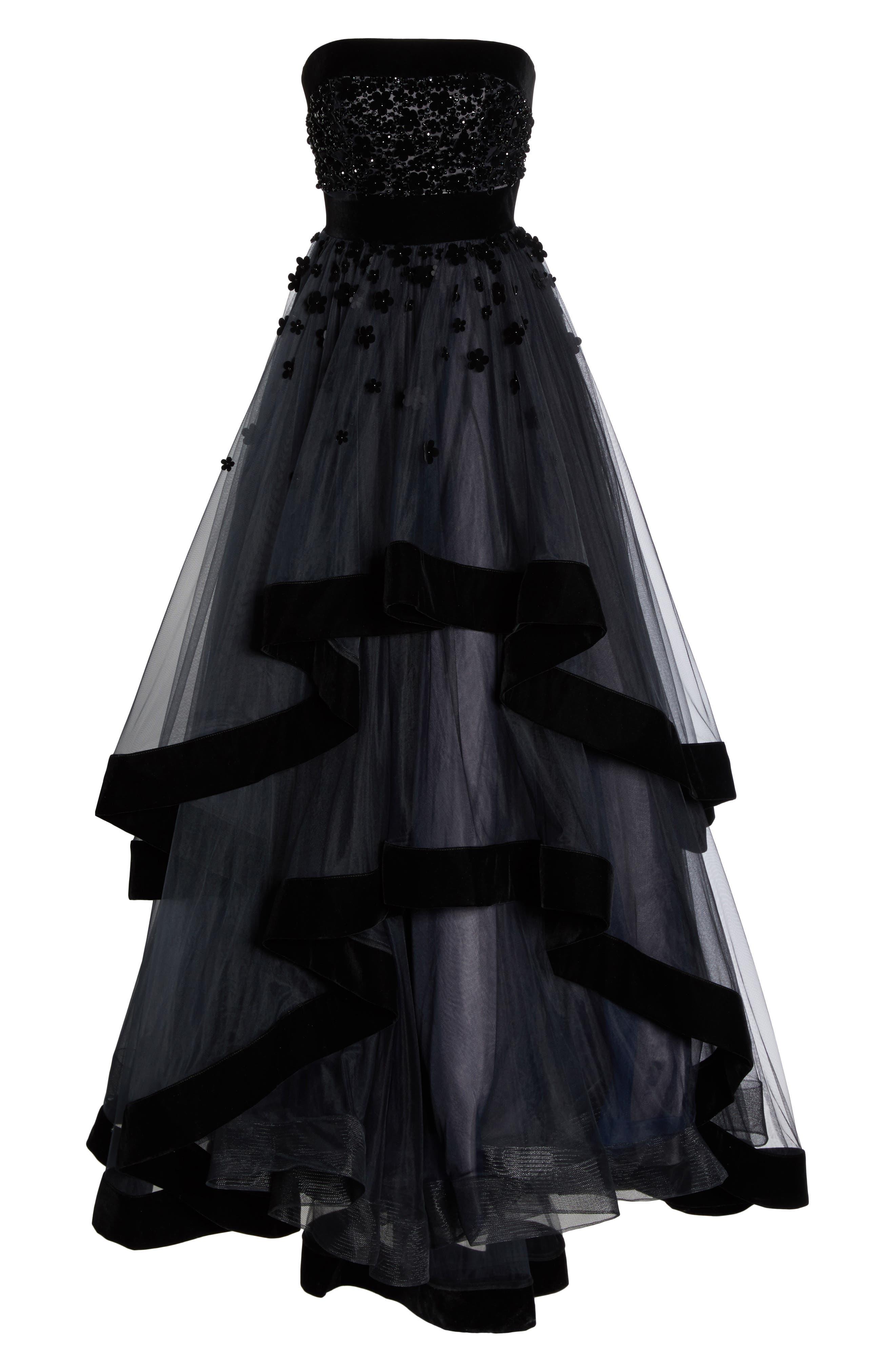 Velvet Trim Strapless Ballgown,                             Alternate thumbnail 6, color,                             BLACK