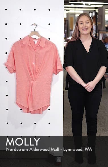 Twist Front Linen Blend Shirt, sales video thumbnail