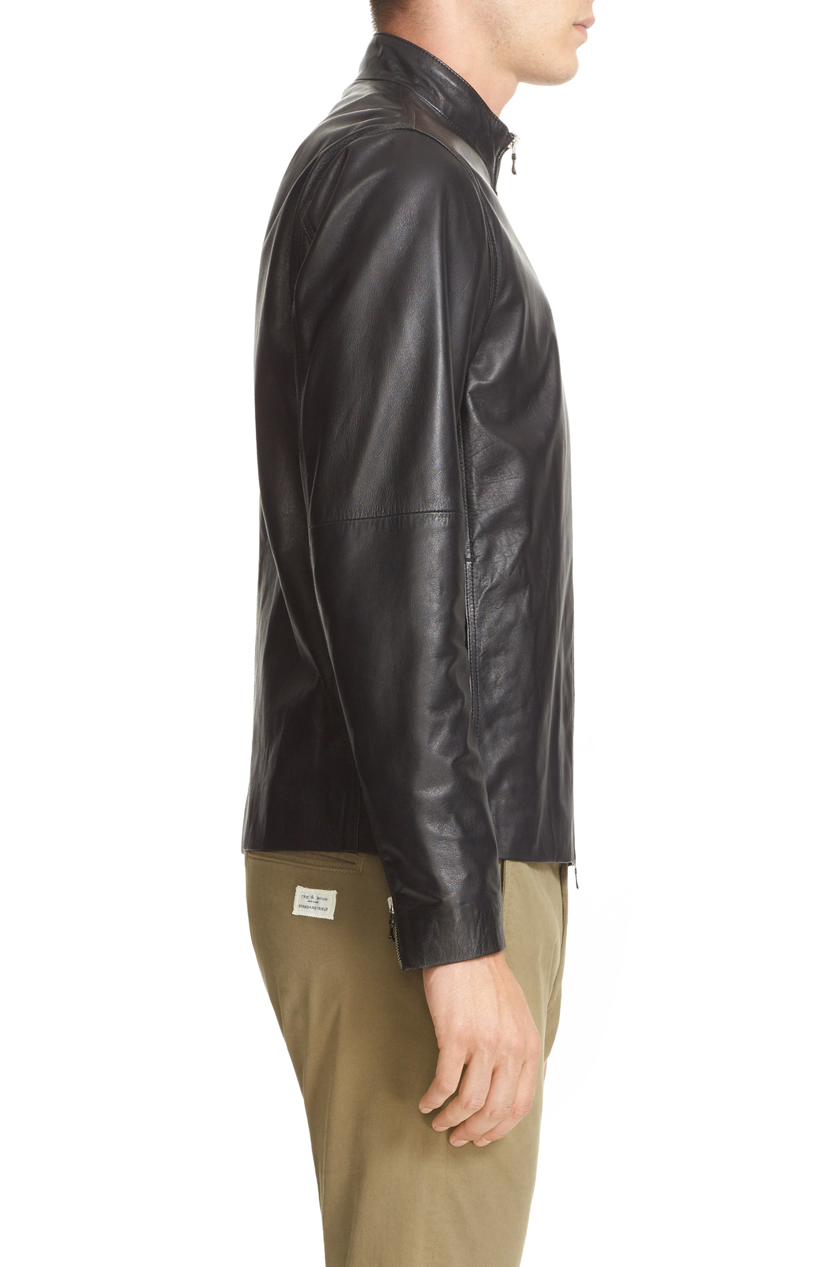 Agnes Lambskin Leather Jacket,                             Alternate thumbnail 3, color,                             BLACK