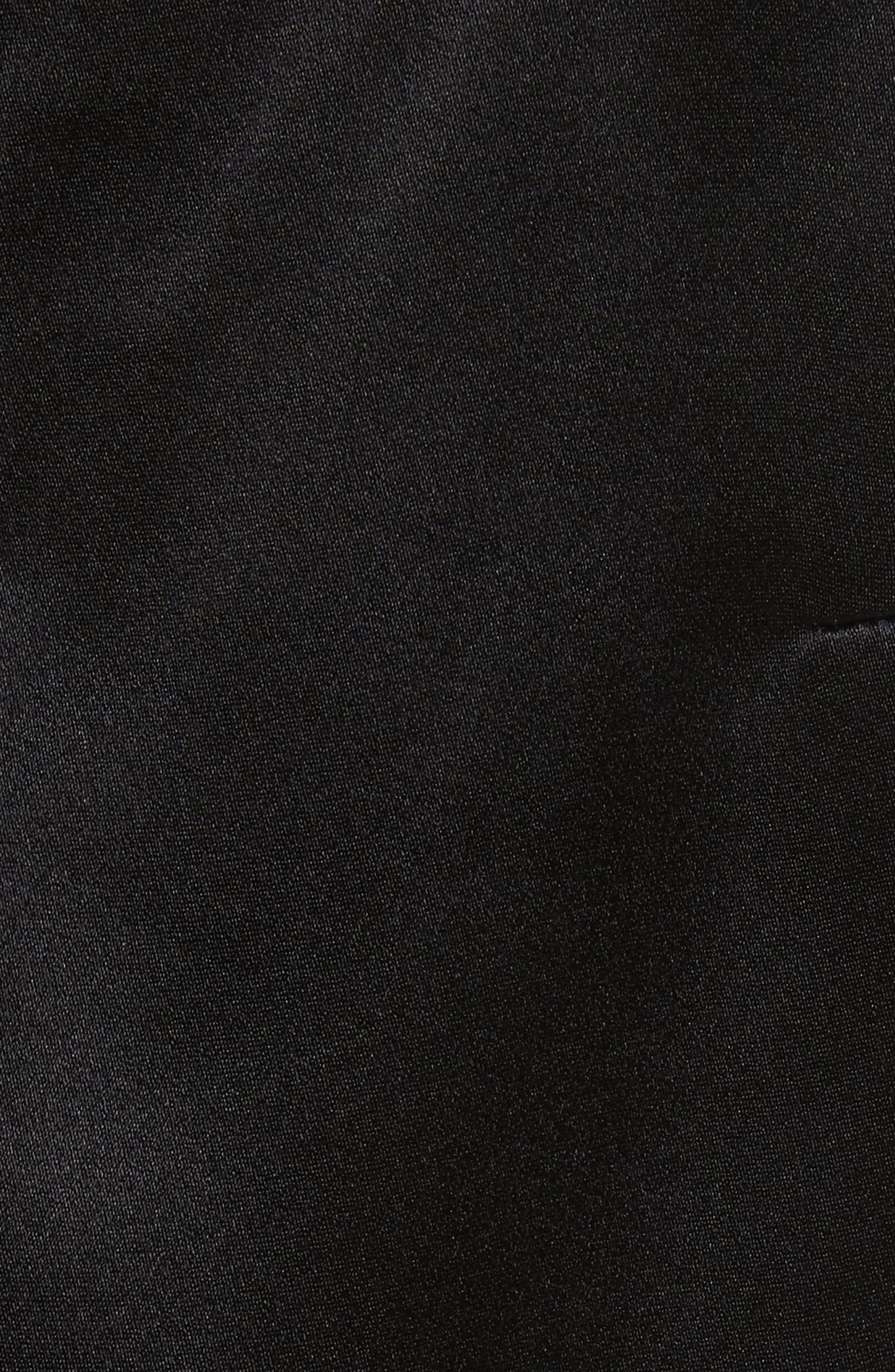 Faux Pearl Strap Silk Cold Shoulder Top,                             Alternate thumbnail 5, color,                             001