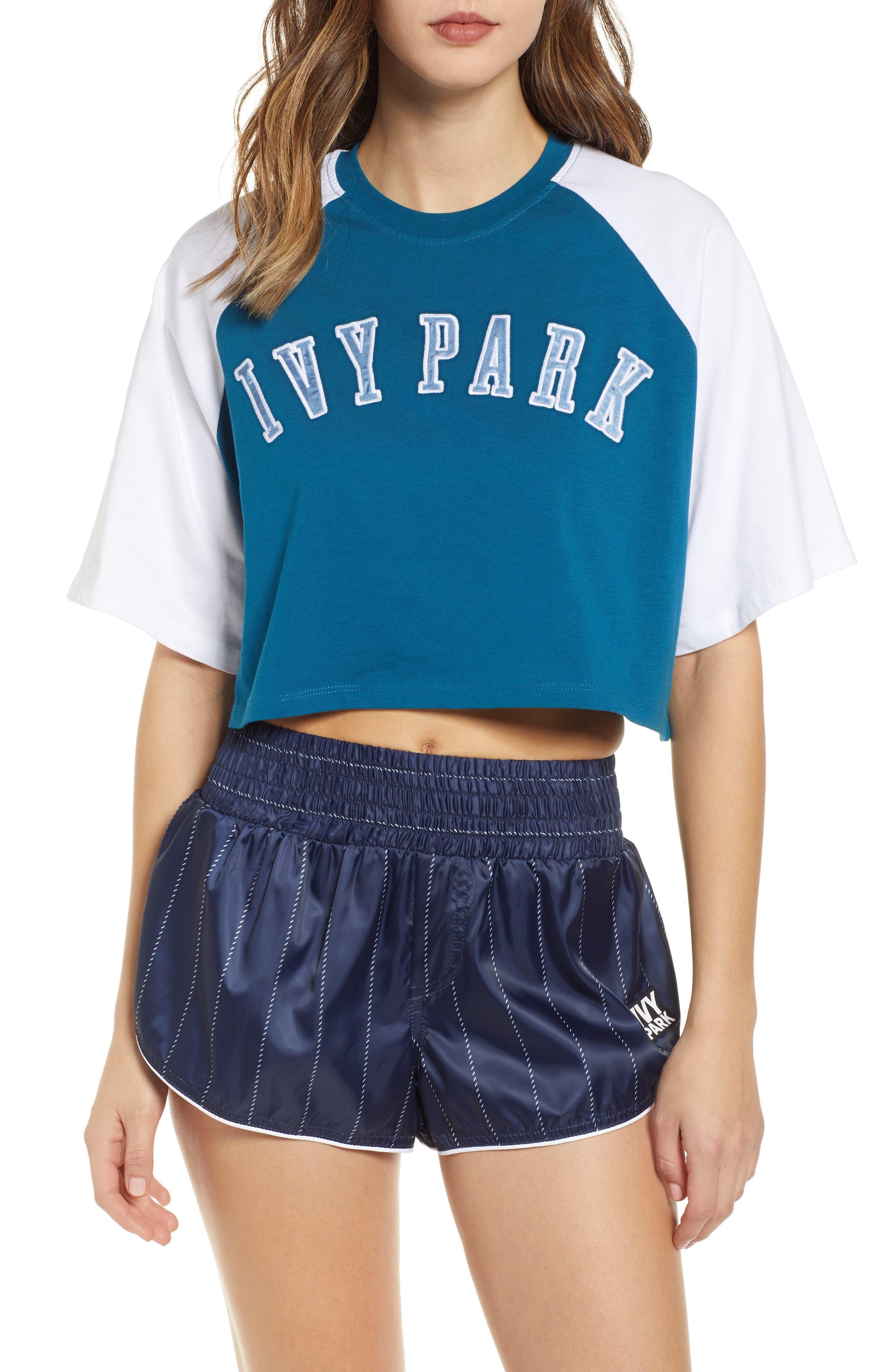 Ivy Park Baseball Logo Crop Tee, Blue