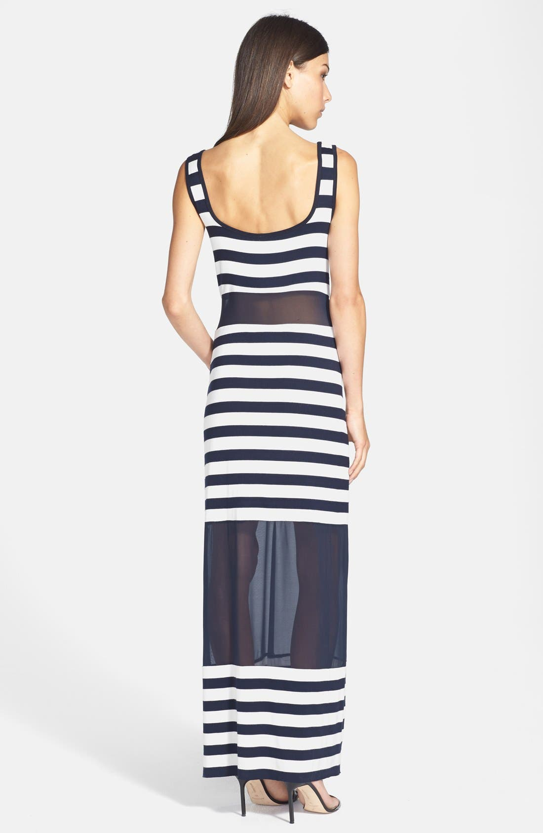 'Tattooed Love Goddess' Stripe Sheer Inset Maxi Dress,                             Alternate thumbnail 3, color,                             001