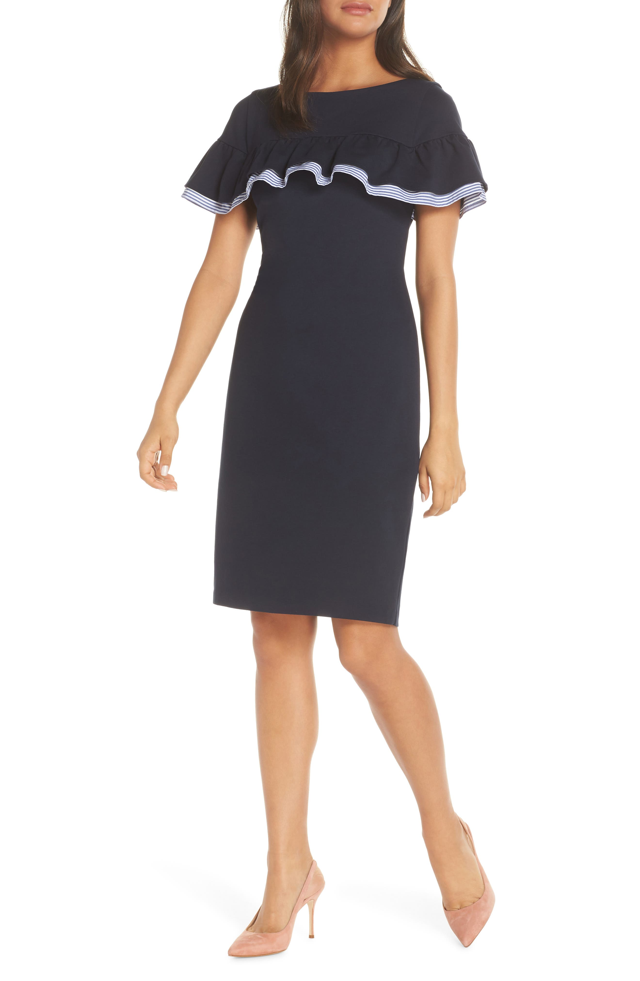 Eliza J Ruffle Detail Sheath Dress, Blue