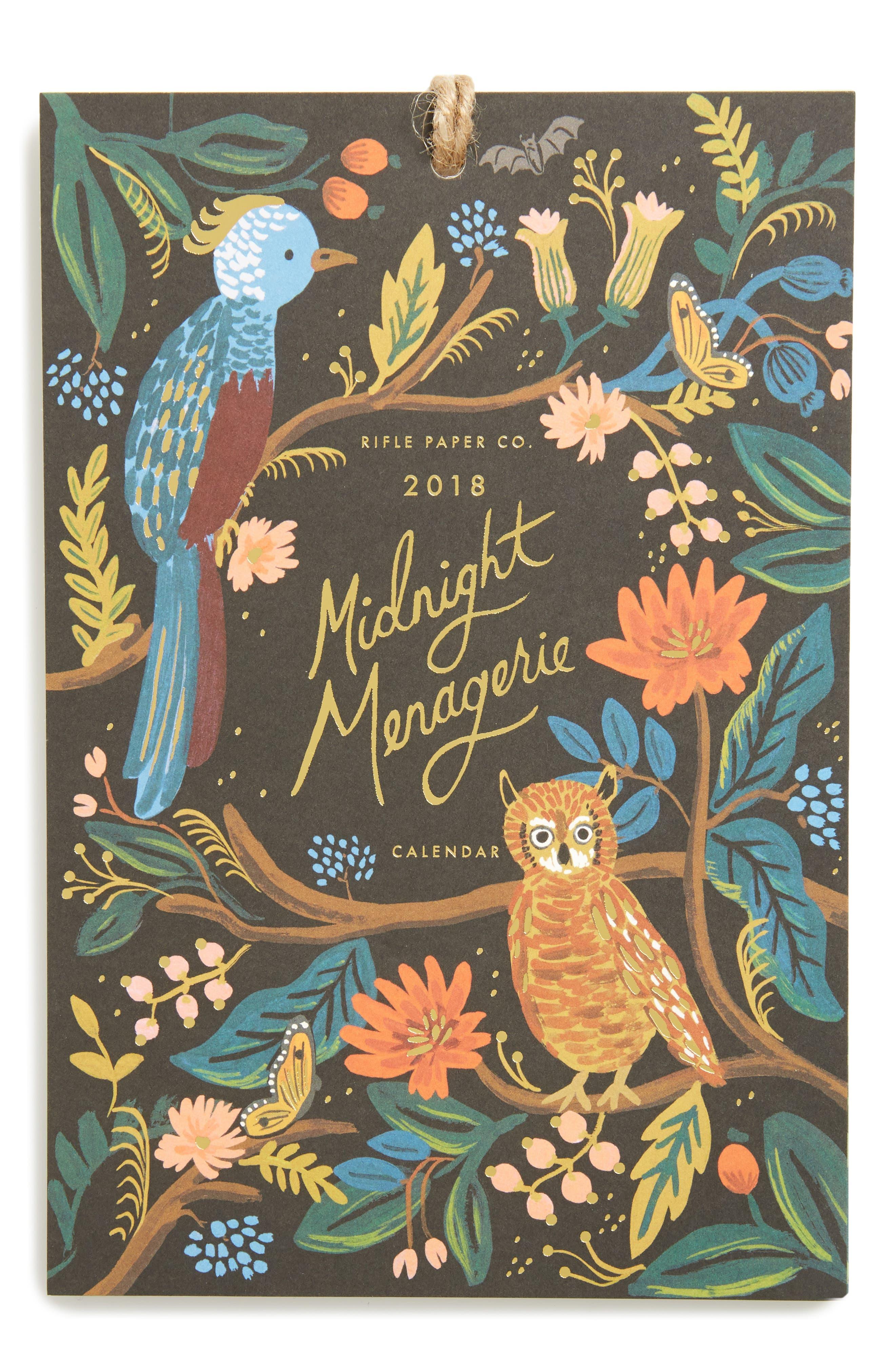 2018 Midnight Menagerie Calendar,                         Main,                         color,