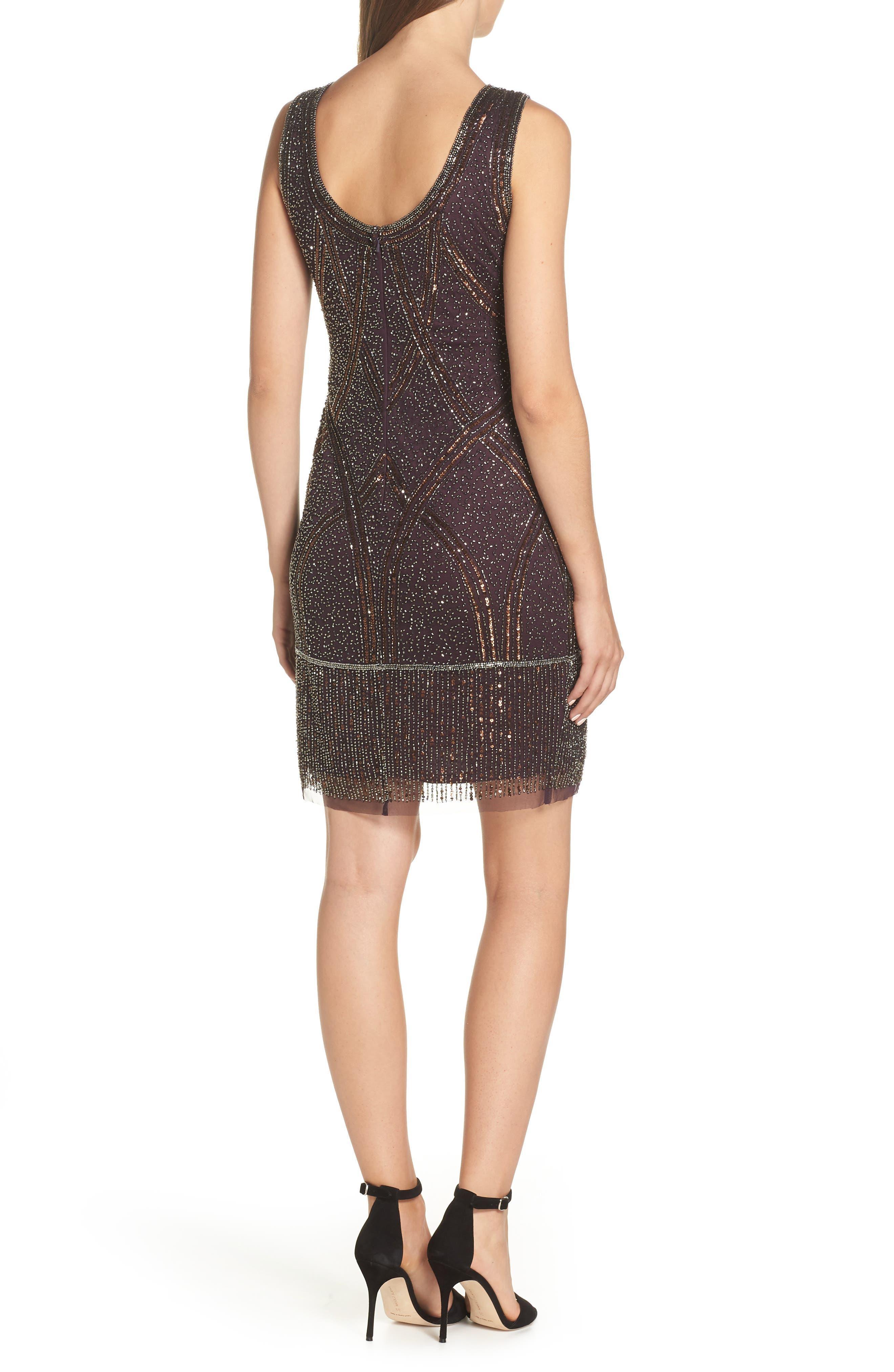 Beaded Fringe Hem Sheath Dress,                             Alternate thumbnail 2, color,                             WINE