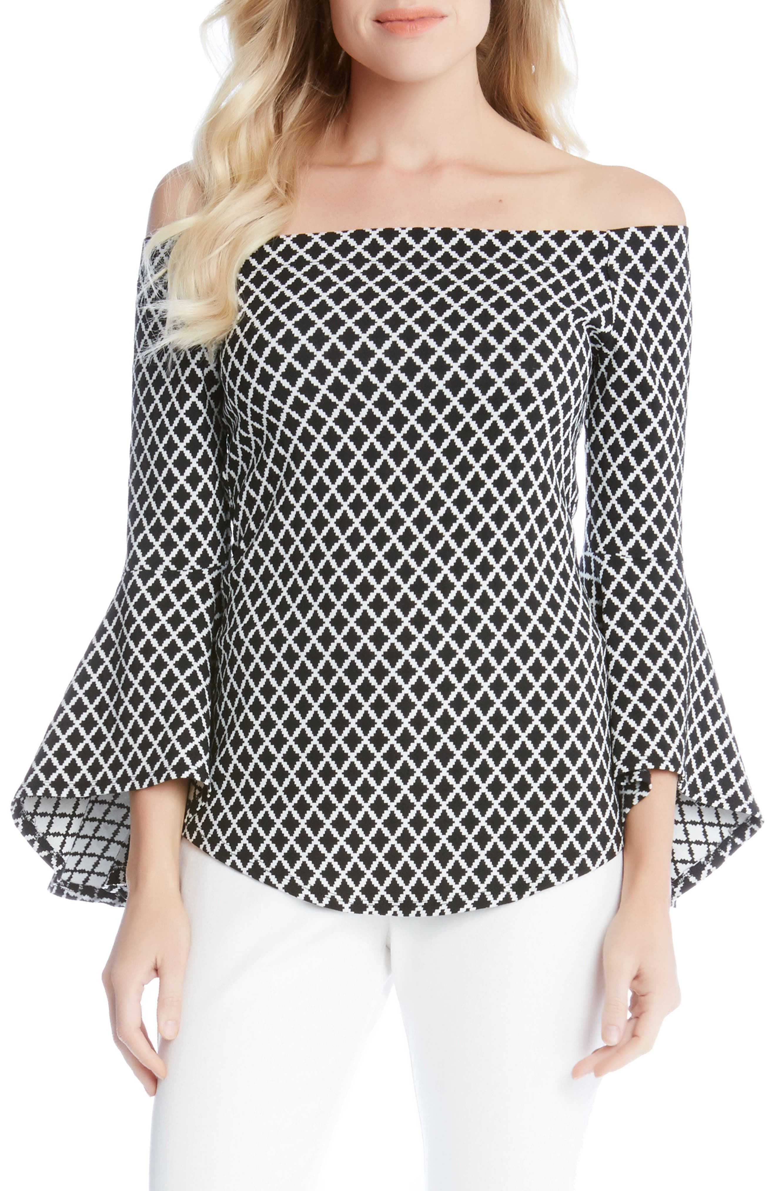 Diamond Print Off the Shoulder Bell Sleeve Top, Main, color, 013
