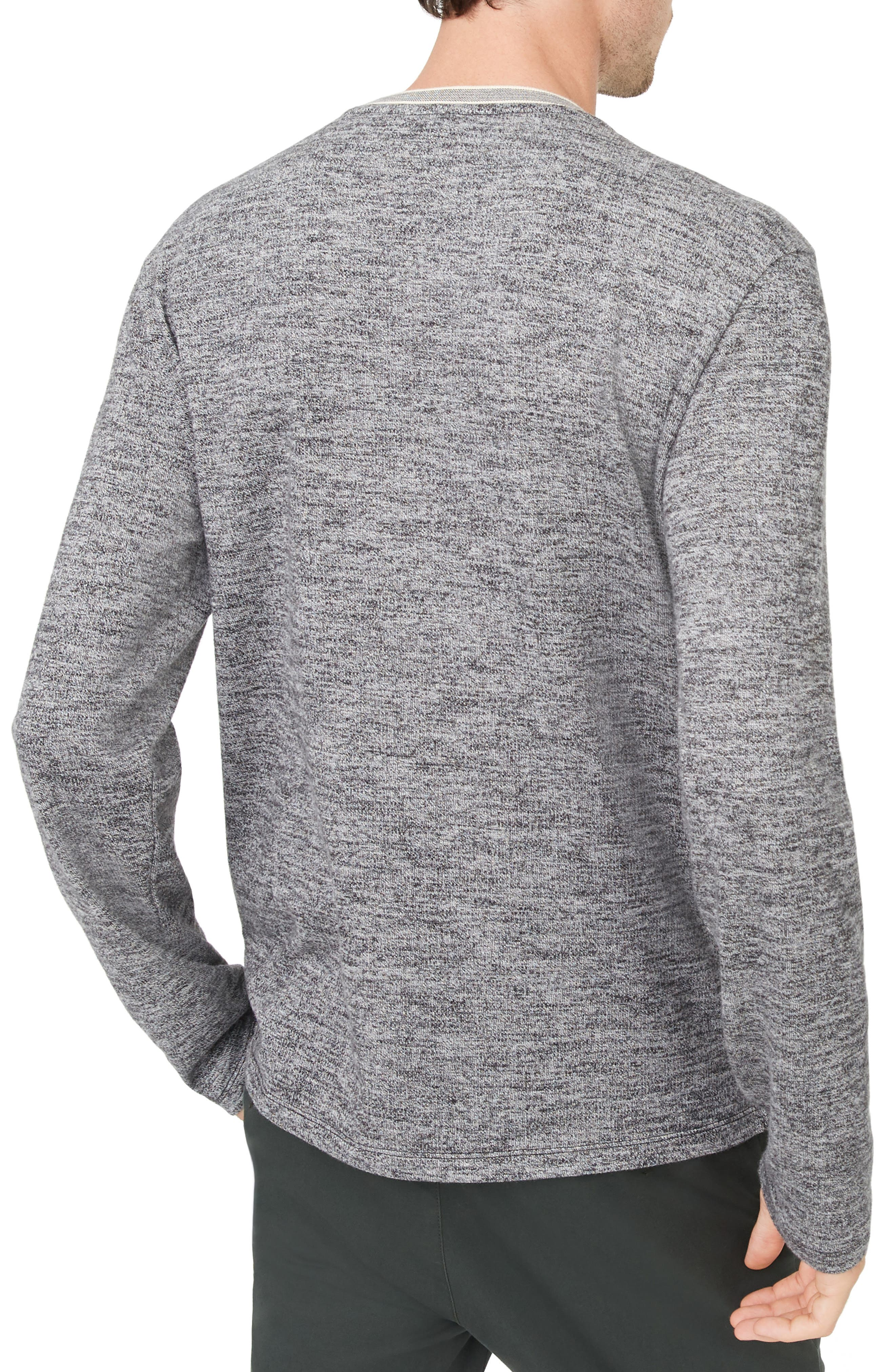 Marled Cotton Crewneck Shirt,                             Alternate thumbnail 2, color,                             CHARCOAL HEATHER