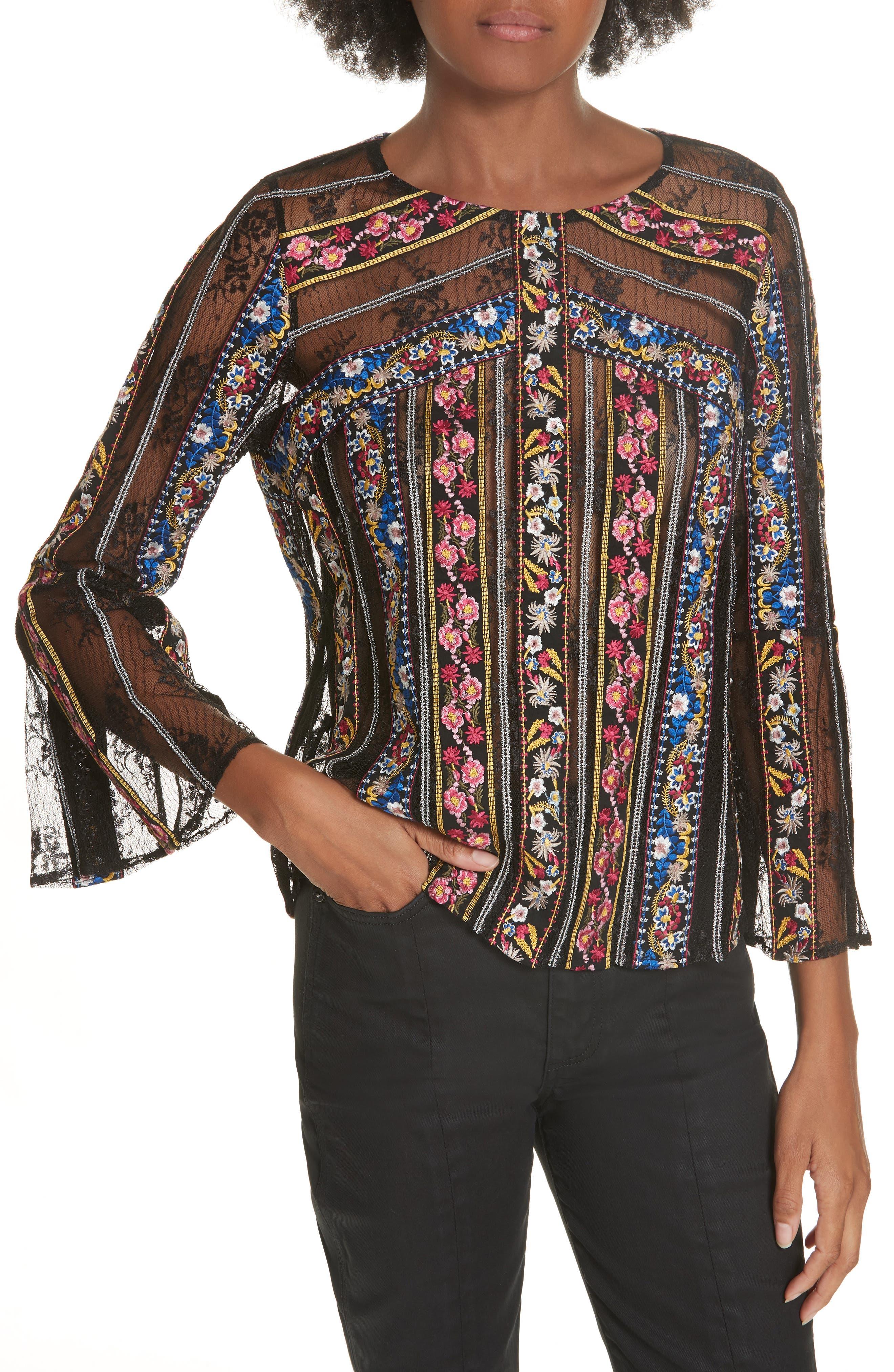 Larue Embroidered Blouse,                         Main,                         color, BLACK/ MULTI