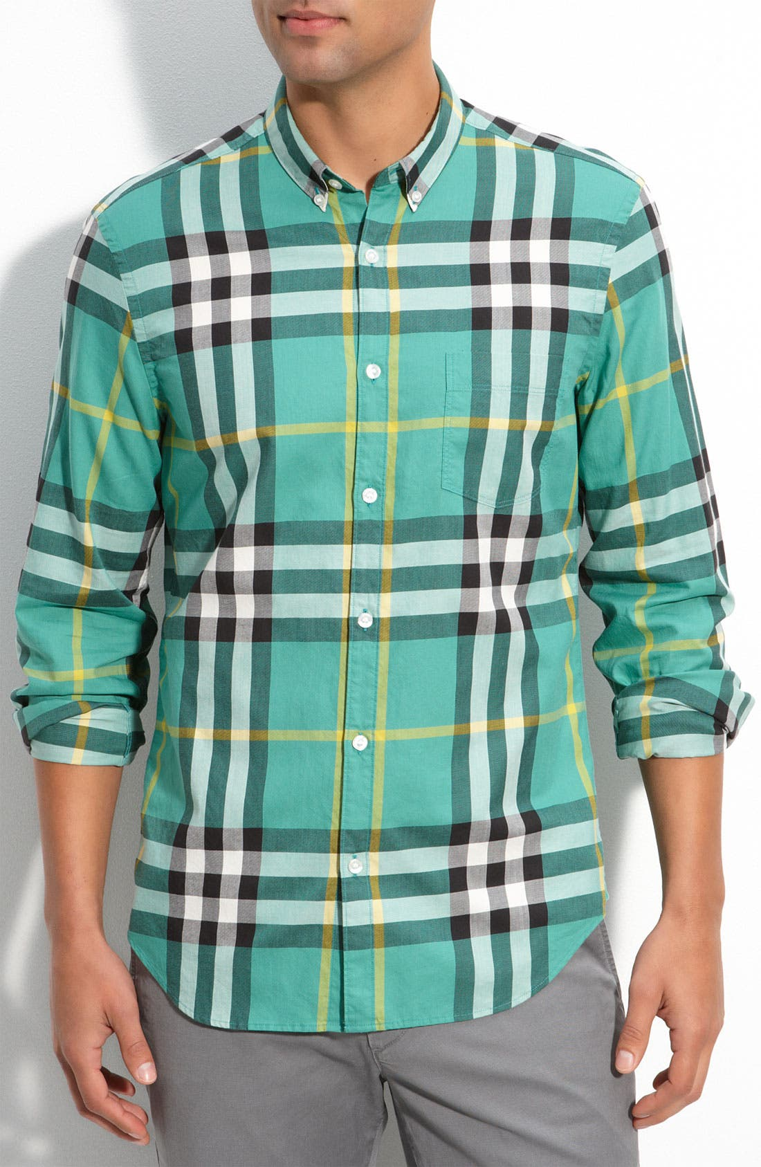Brit Trim Fit Exploded Check Print Shirt, Main, color, 309