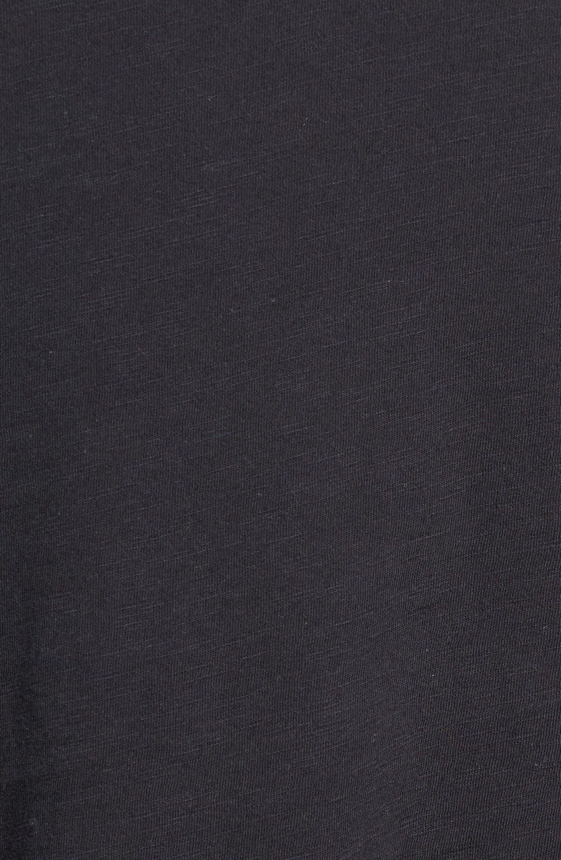 Slub Cotton V-Neck T-Shirt,                             Alternate thumbnail 4, color,                             BLACK