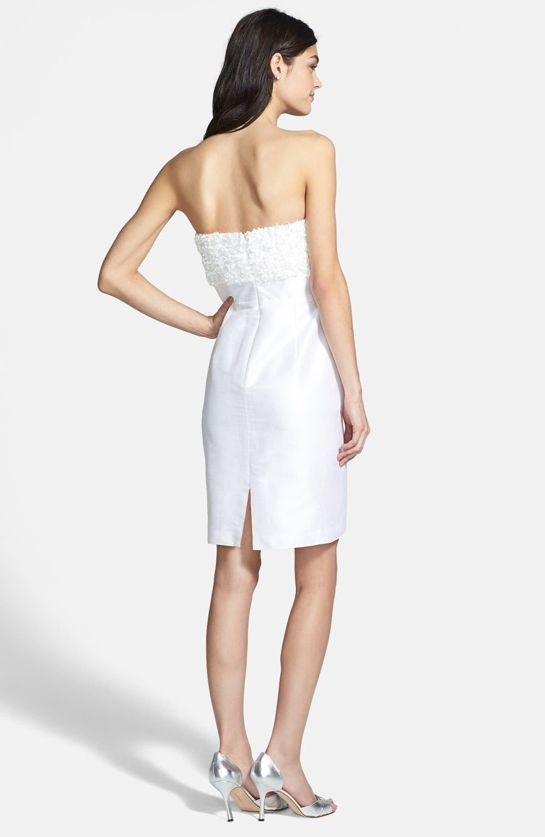 'Gemma' Strapless Rosette Dress,                             Alternate thumbnail 5, color,                             900