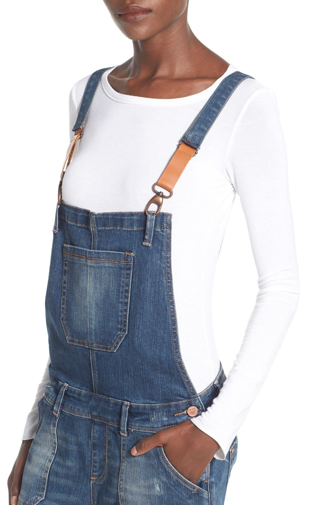 'Daryl' Distressed Denim Overalls,                             Alternate thumbnail 6, color,
