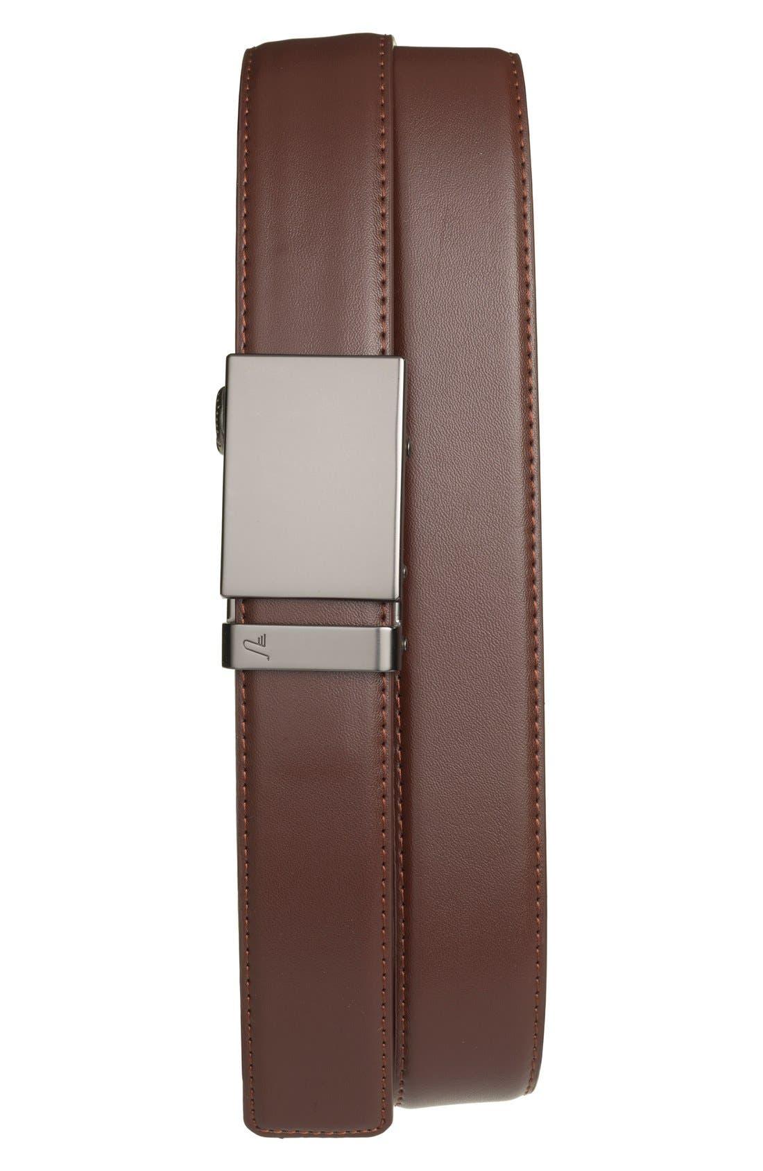 MISSION BELT,                             'Gun Metal' Leather Belt,                             Main thumbnail 1, color,                             GUNMETAL/ CHOCOLATE