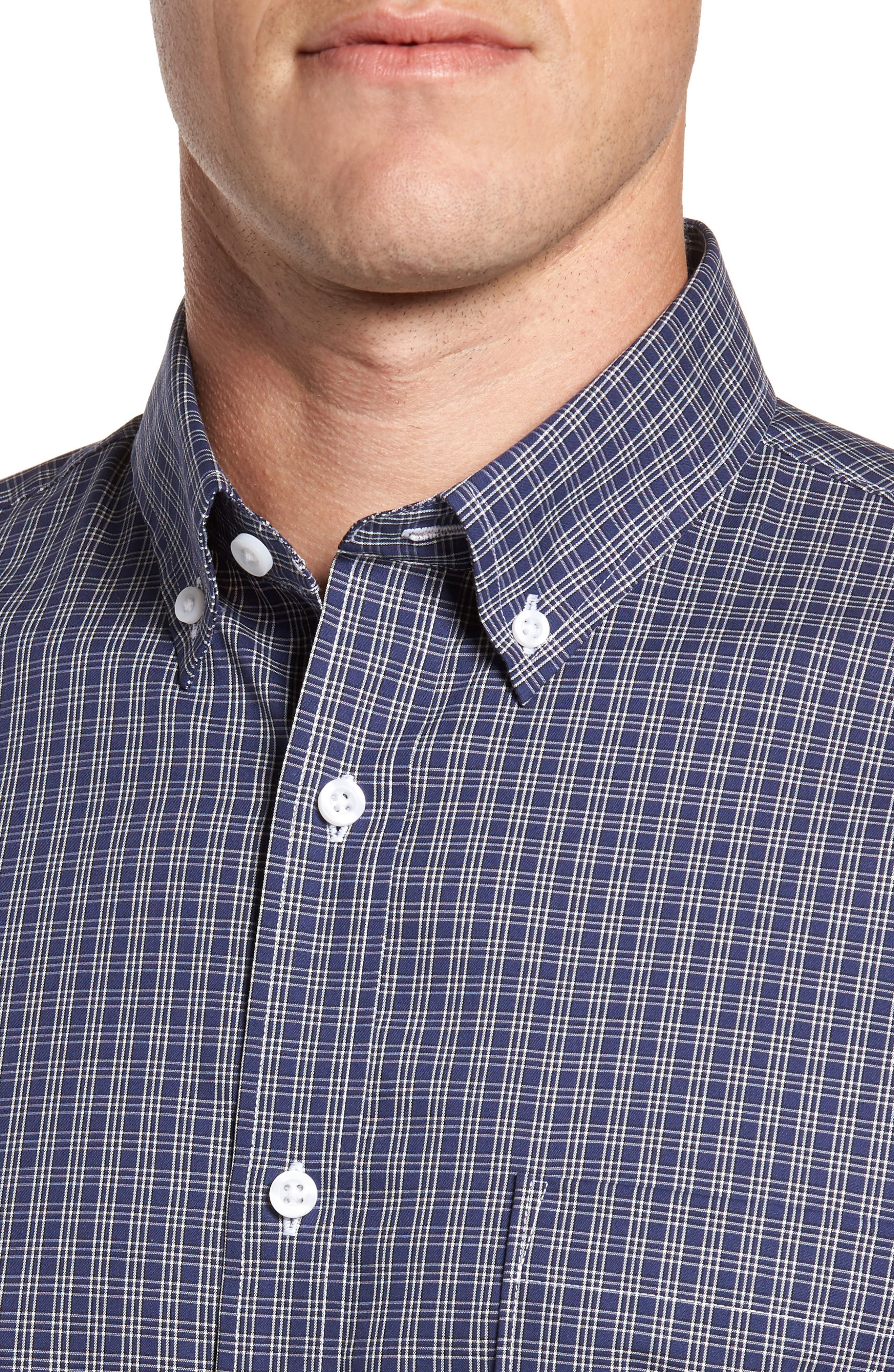 Regular Fit Non-Iron Mini Check Sport Shirt,                             Alternate thumbnail 4, color,                             410