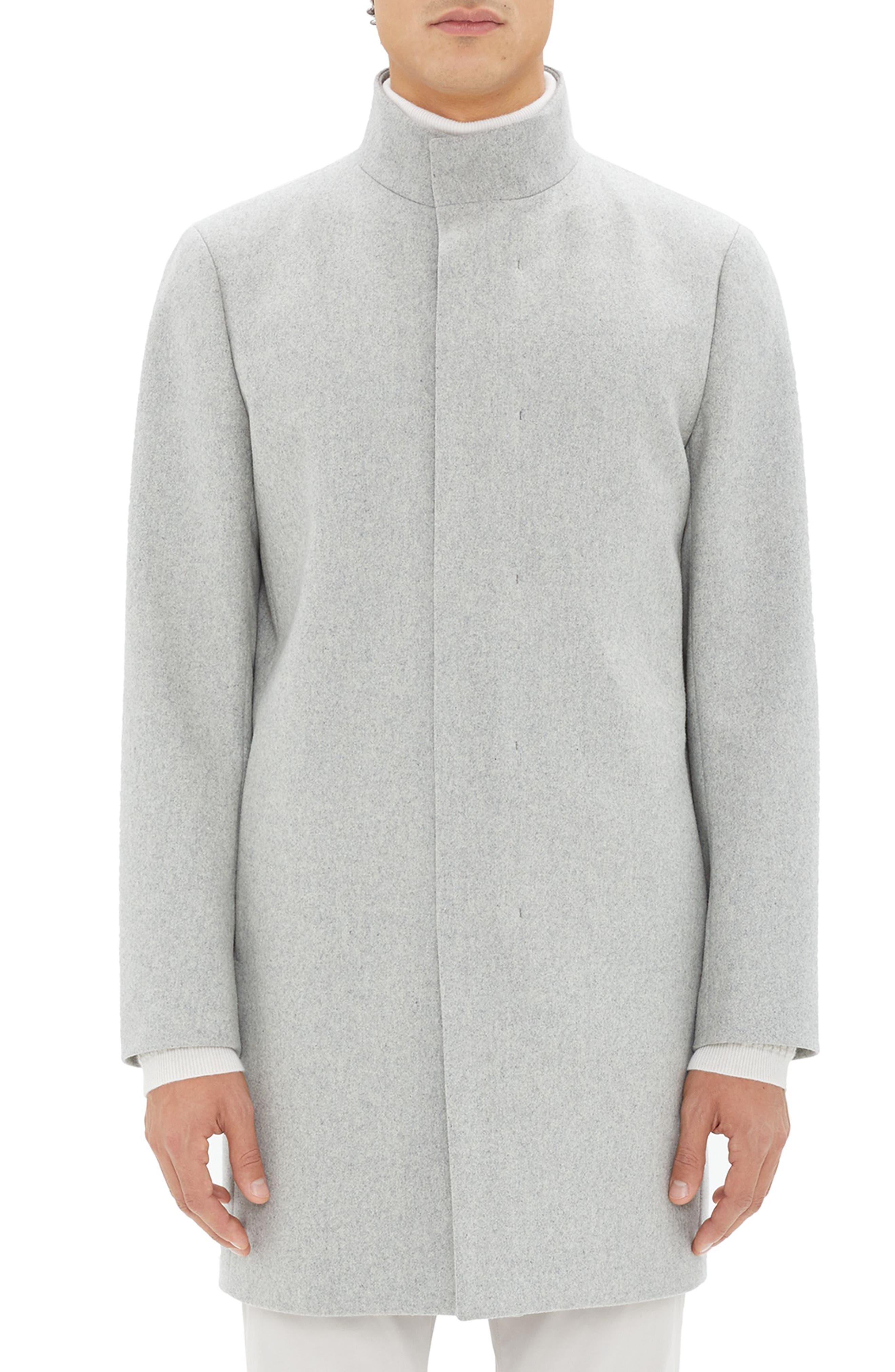 Belvin Modus Melton Wool Blend Coat,                             Main thumbnail 1, color,                             GREY MELANGE