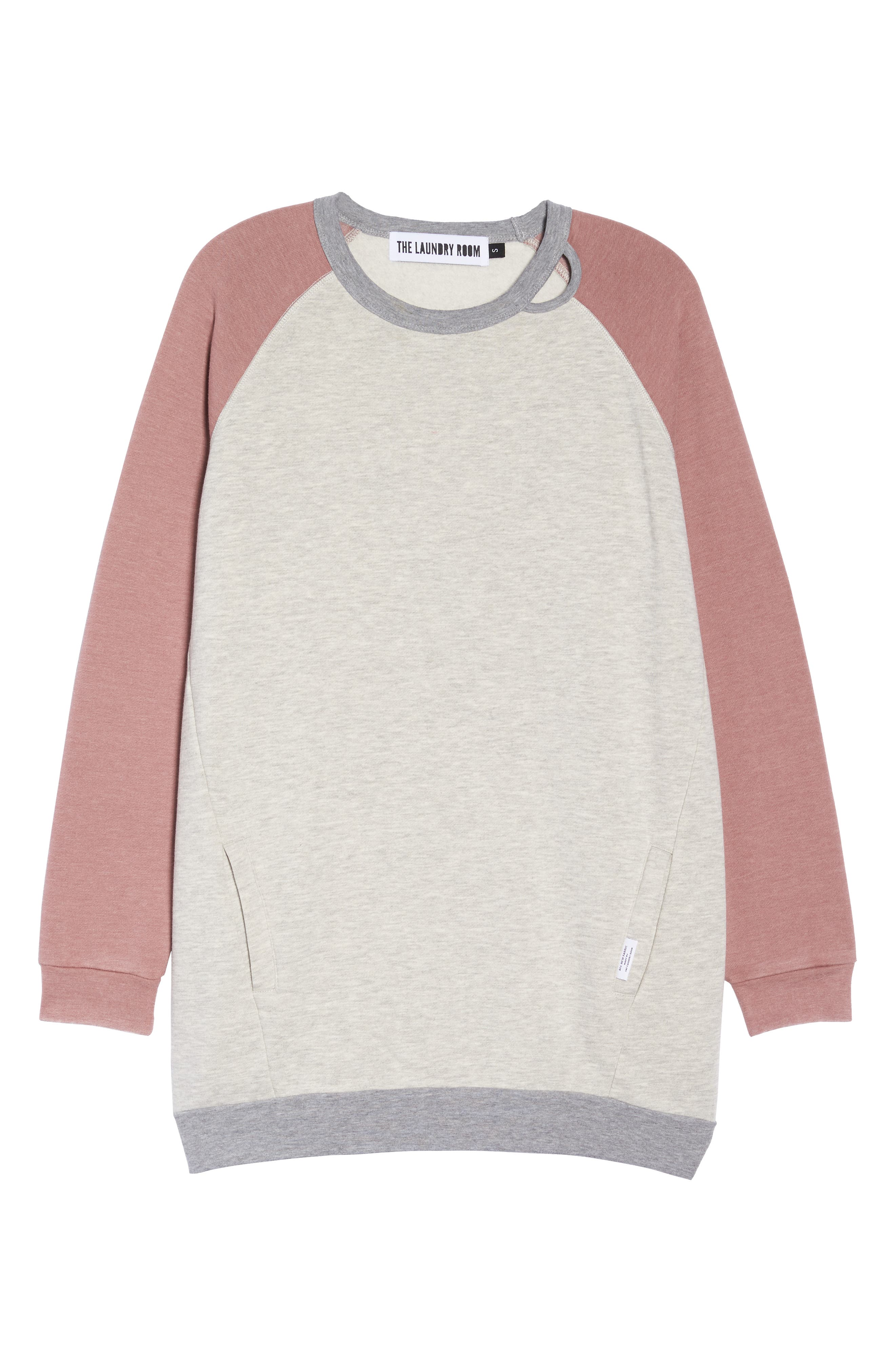 Lounge Sweatshirt Dress,                             Alternate thumbnail 6, color,                             PEBBLE HEATHER / MAUVE