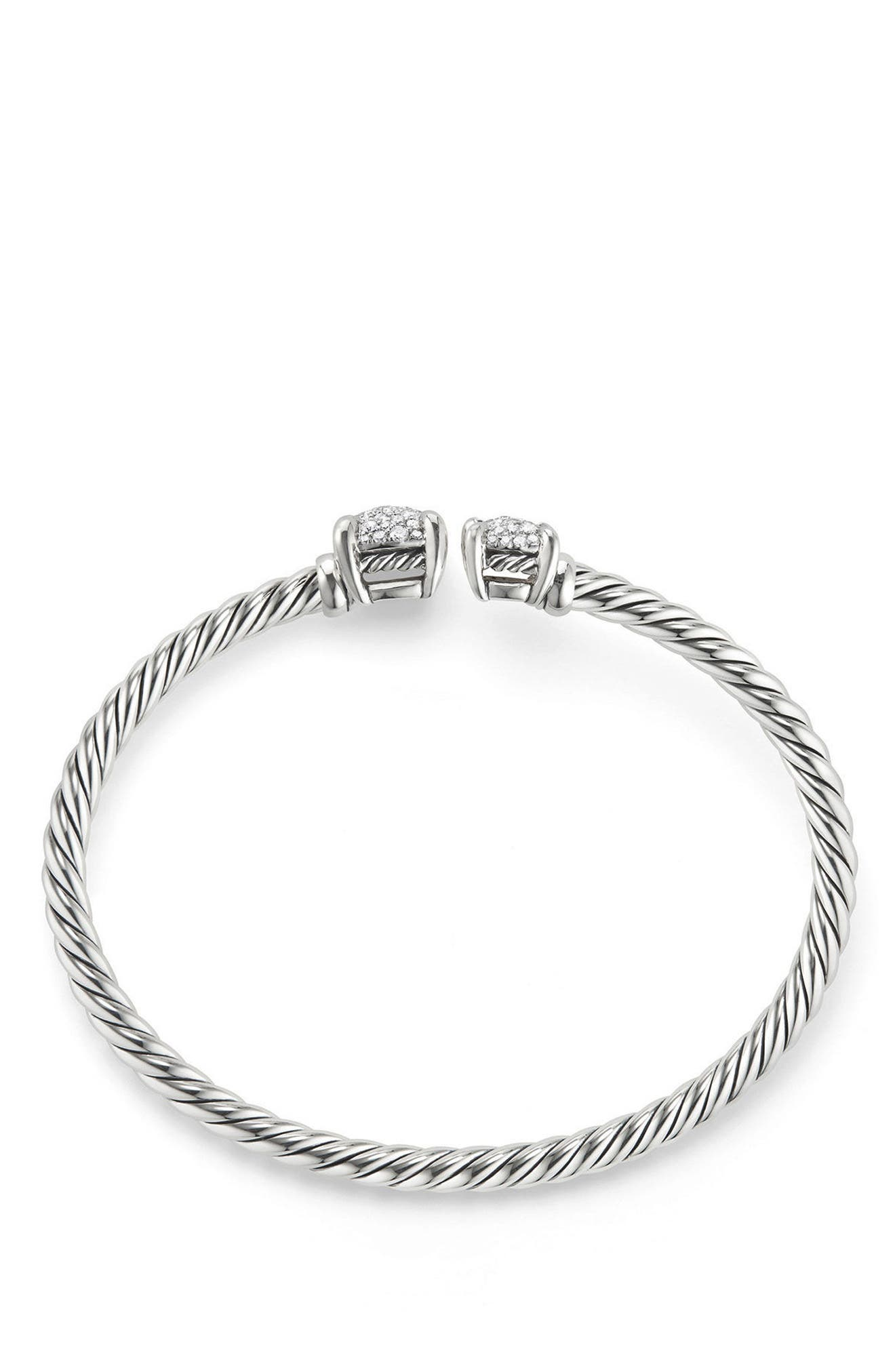 Châtelaine Bypass Bracelet with Diamonds,                             Alternate thumbnail 2, color,                             SILVER