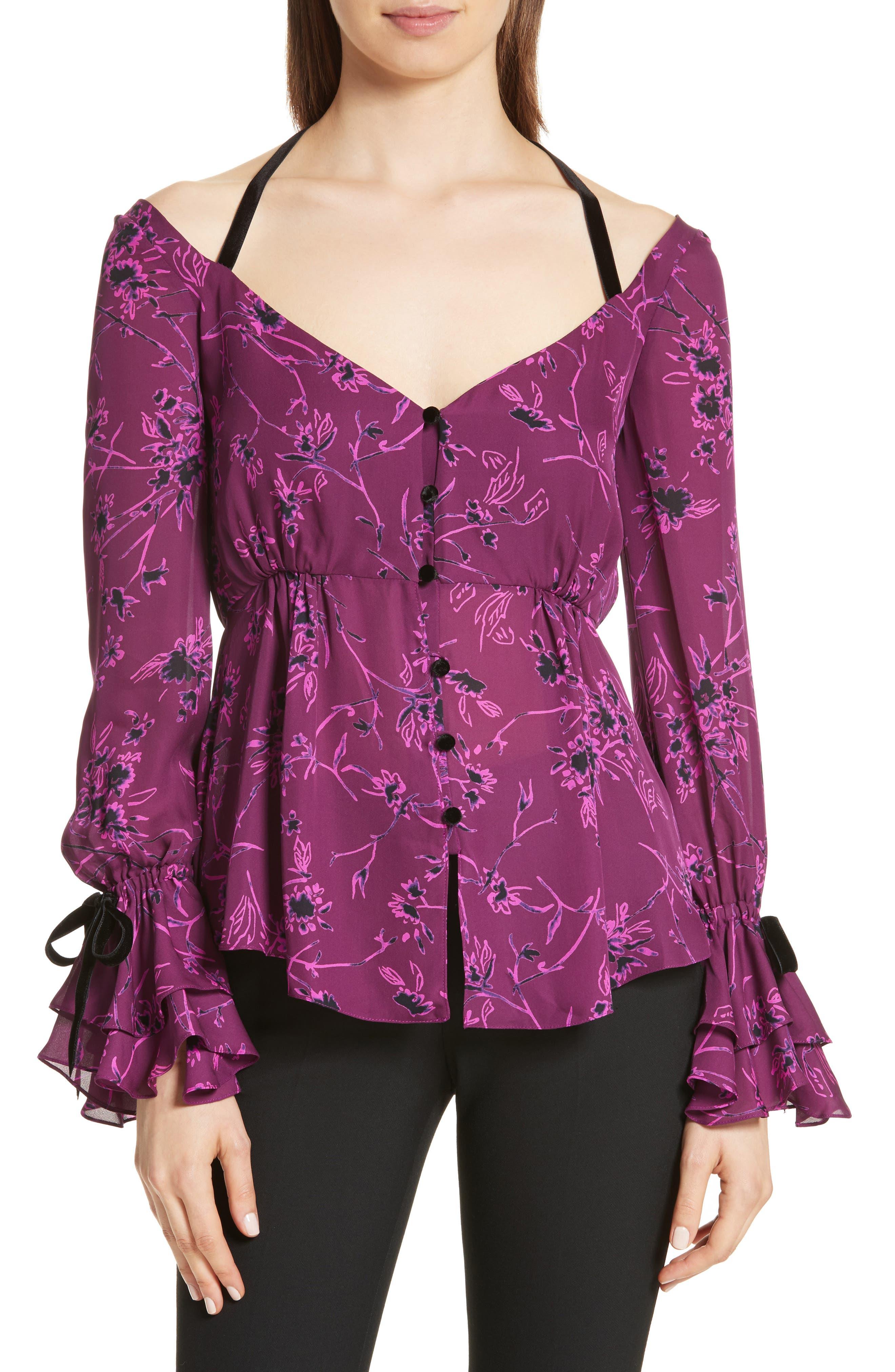 Mabel Floral Print Silk Top,                         Main,                         color,