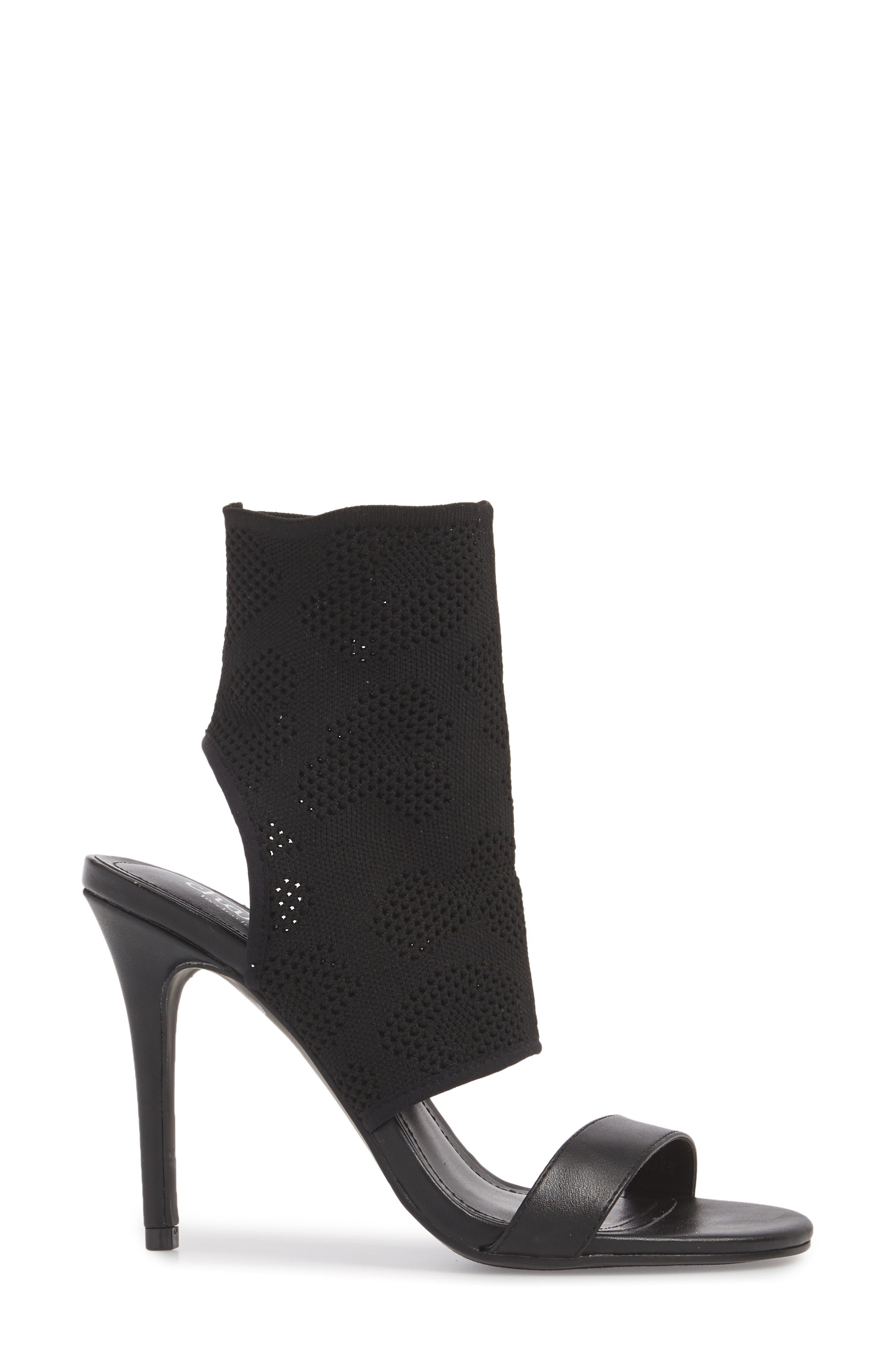 Remote Sock Cuff Sandal,                             Alternate thumbnail 3, color,                             BLACK FABRIC
