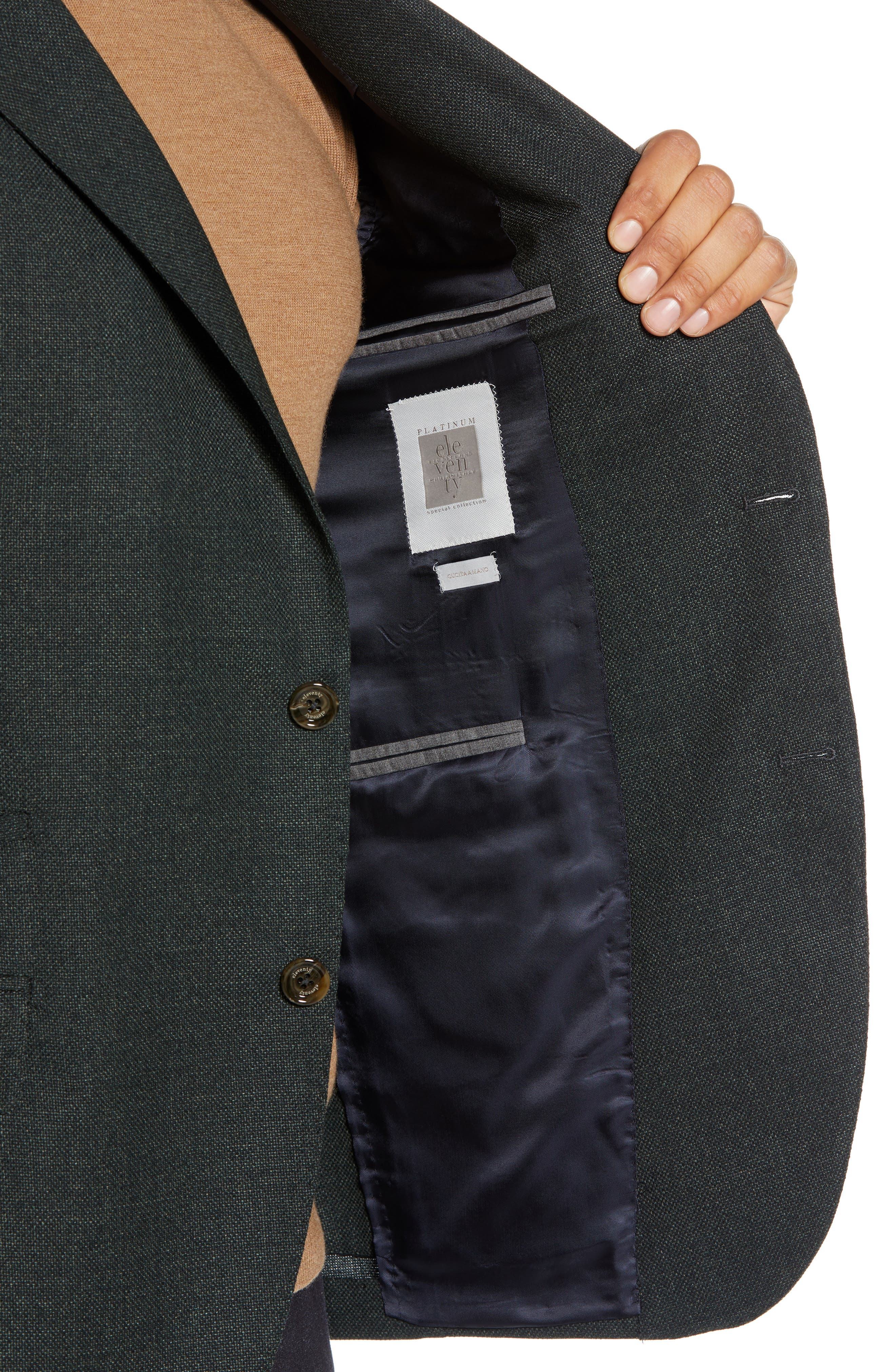 Trim Fit Wool Blazer,                             Alternate thumbnail 4, color,                             GREEN